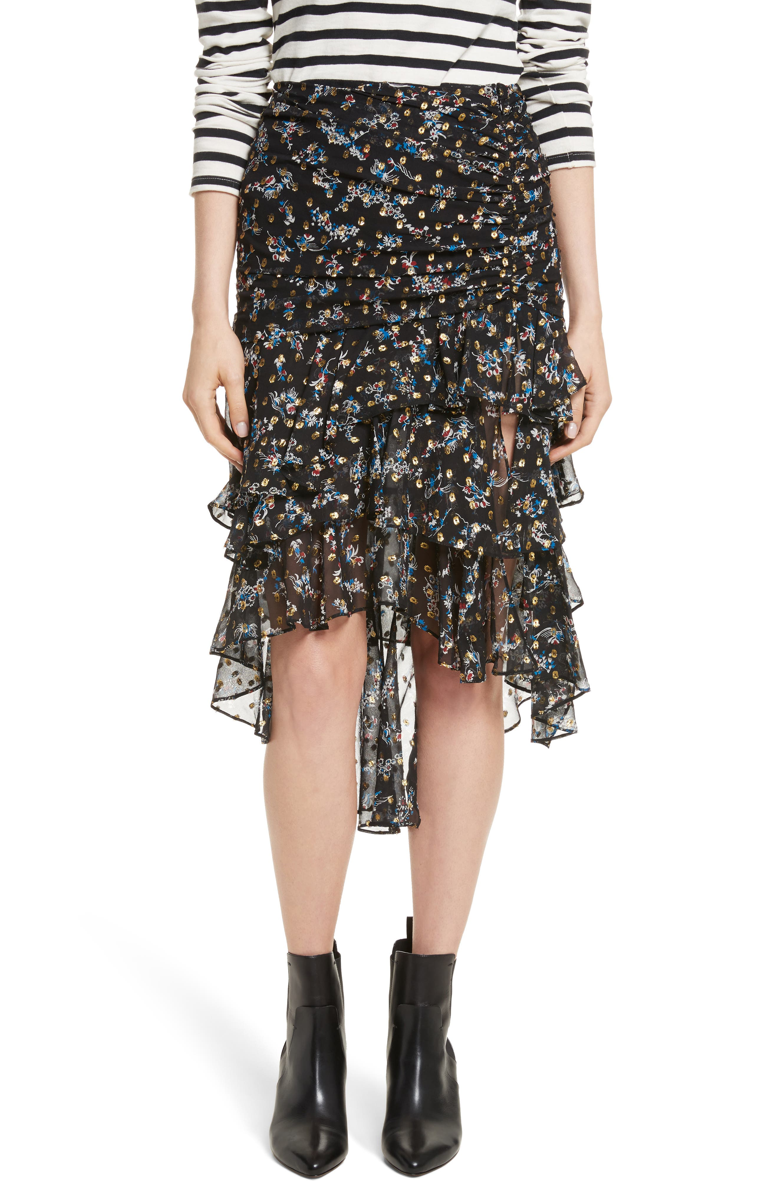 Cella Metallic Floral Print Midi Skirt,                             Main thumbnail 1, color,                             008