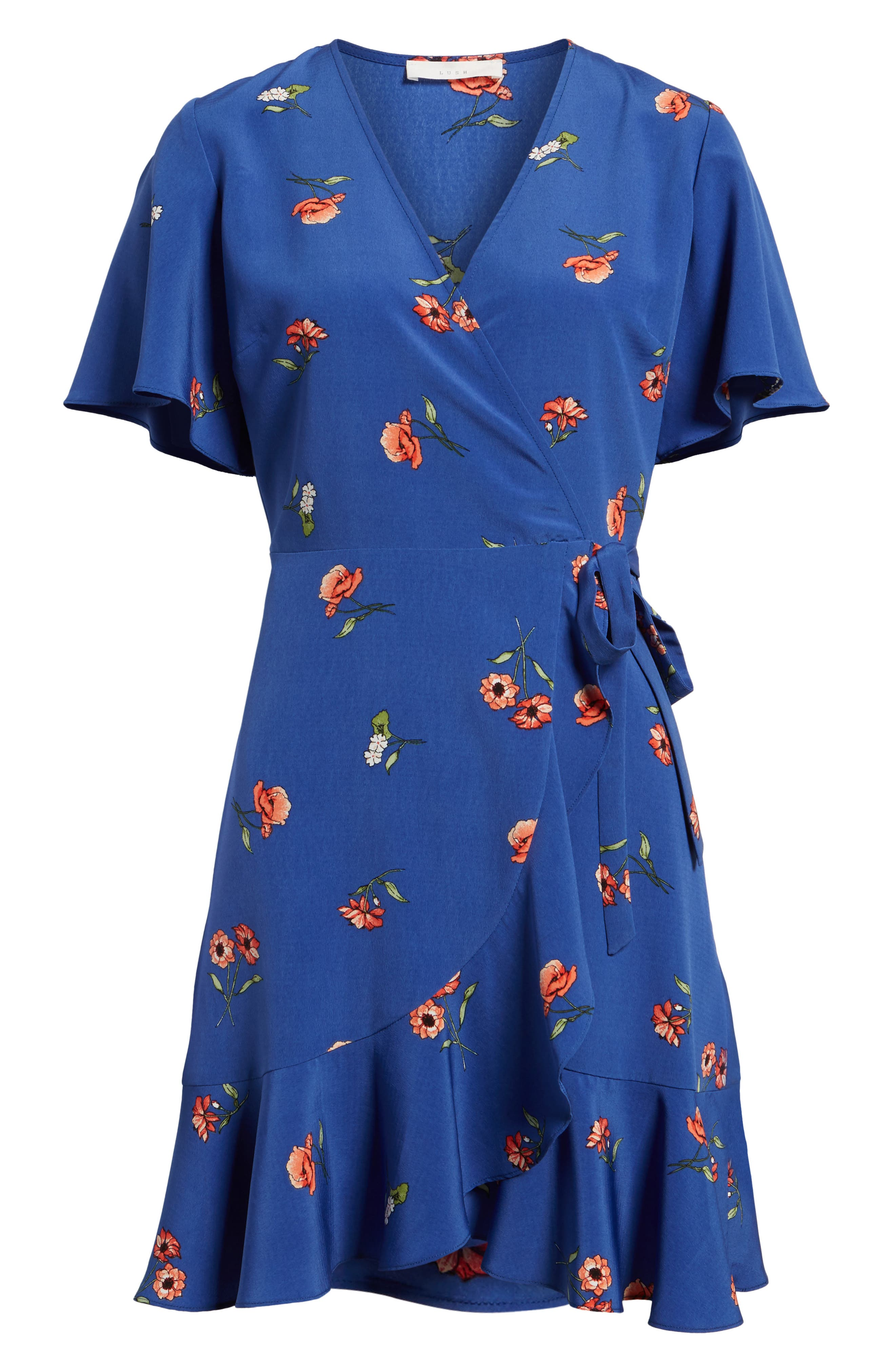 Lucy Floral Wrap Dress,                             Alternate thumbnail 23, color,