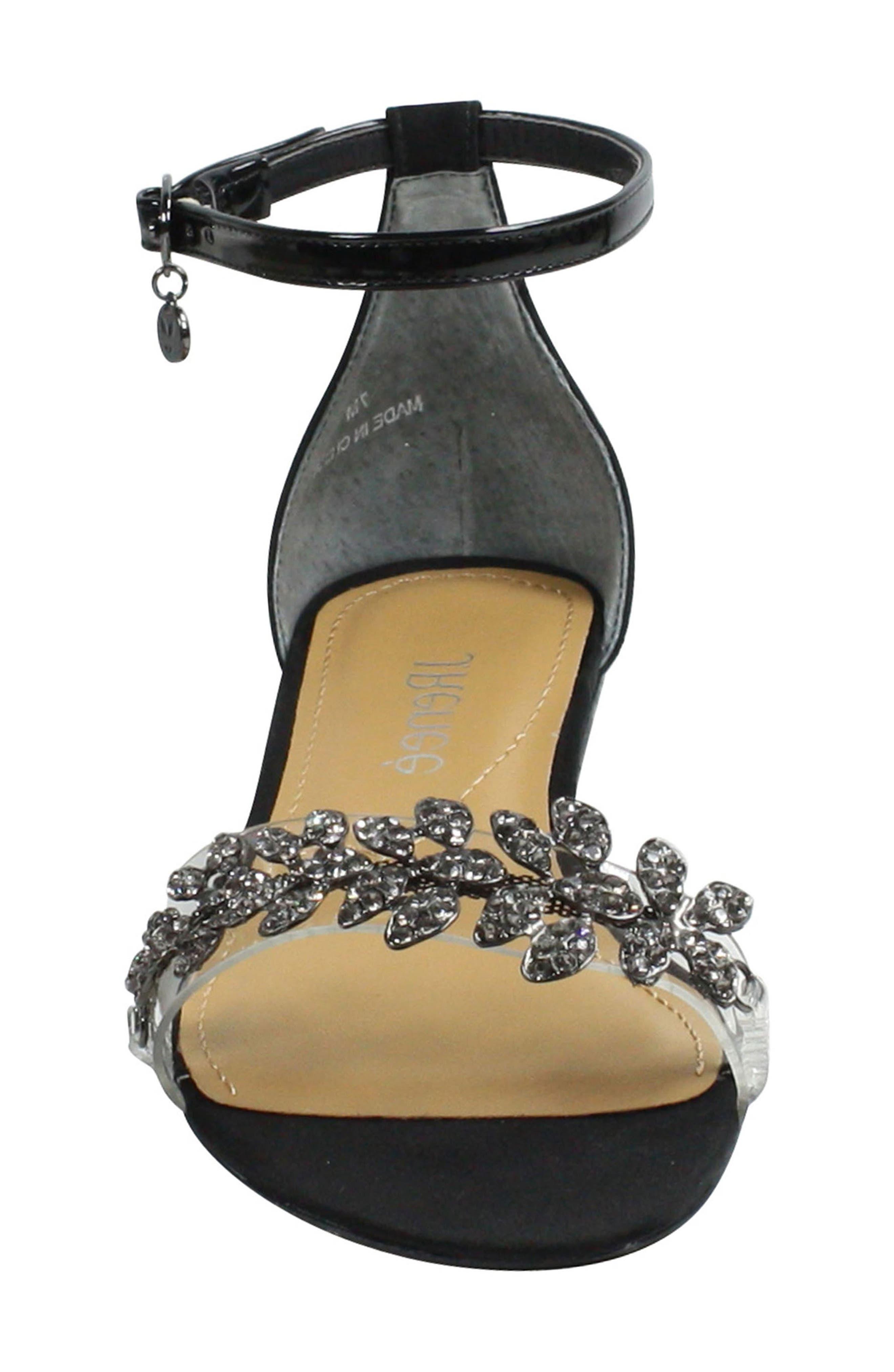 Evania Ankle Strap Sandal,                             Alternate thumbnail 4, color,                             BLACK SATIN