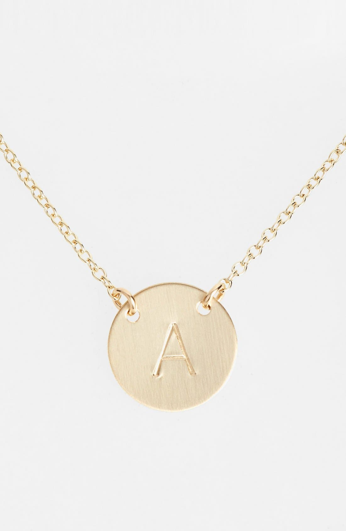 14k-Gold Fill Anchored Initial Disc Necklace,                             Main thumbnail 1, color,                             14K GOLD FILL A