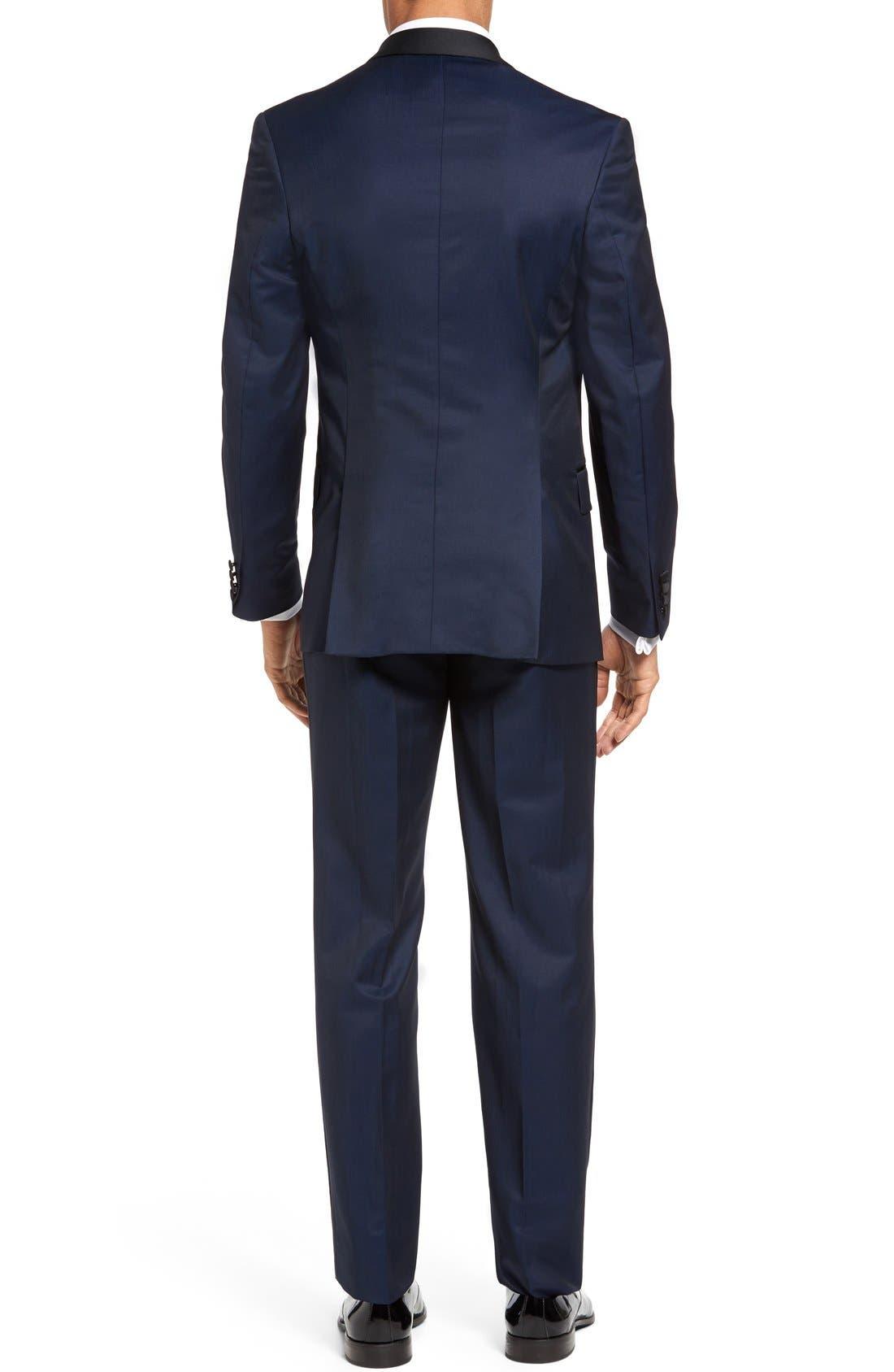 'Josh' Trim Fit Navy Shawl Lapel Tuxedo,                             Alternate thumbnail 3, color,                             NAVY BLUE