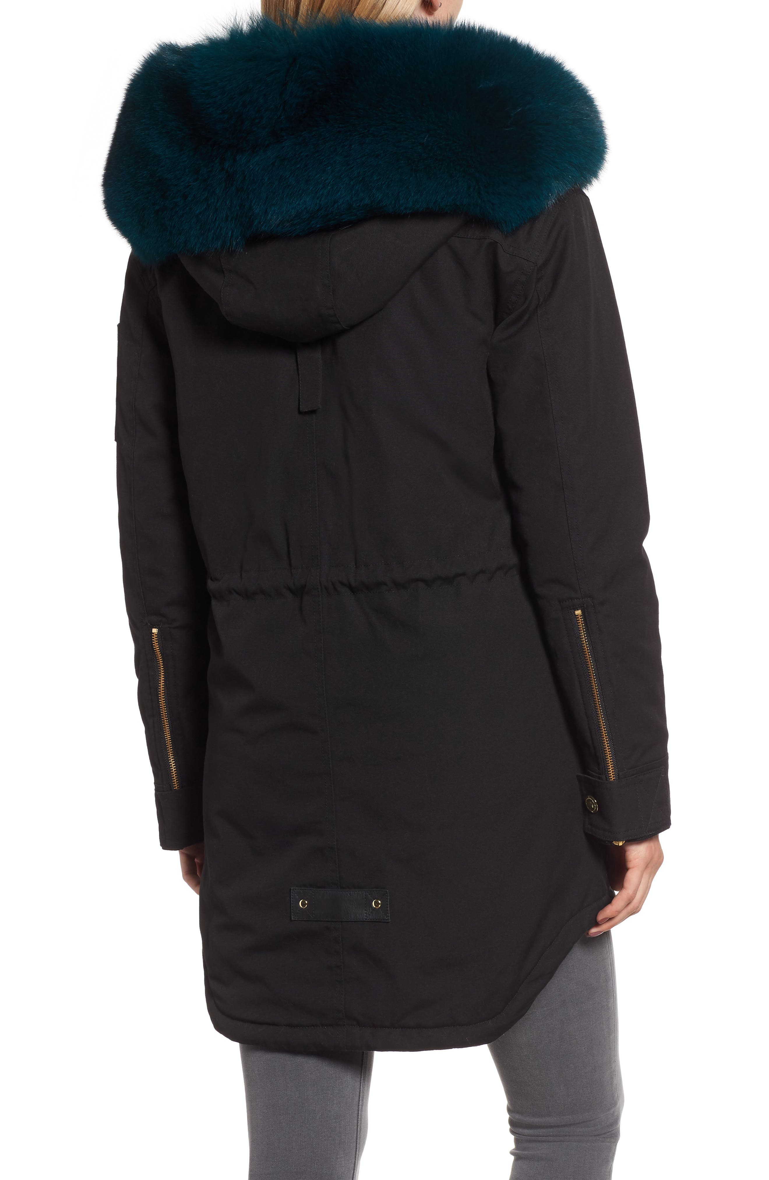 Foxy Stellar Parka with Genuine Rabbit Fur & Genuine Fox Fur,                             Alternate thumbnail 2, color,                             BLACK/ TEAL/ SKY BLUE/ GREEN