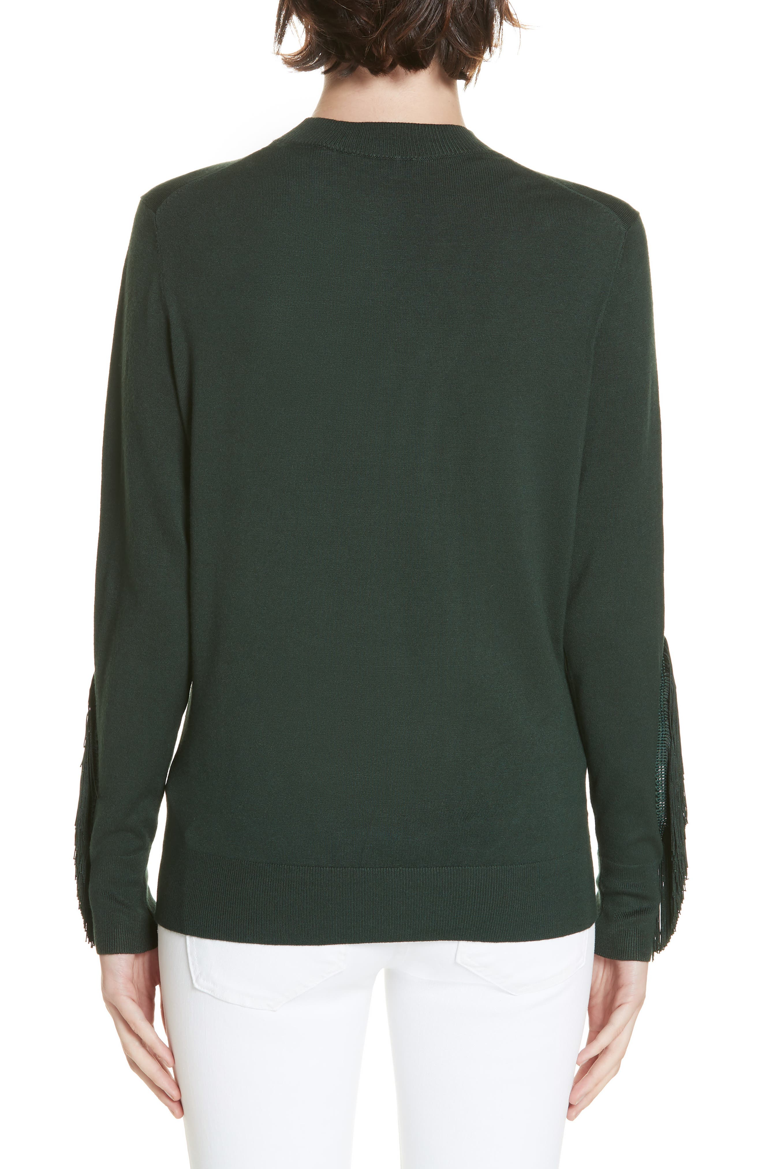 Aniebal Fringe Trim Sweater,                             Alternate thumbnail 2, color,                             DARK GREEN
