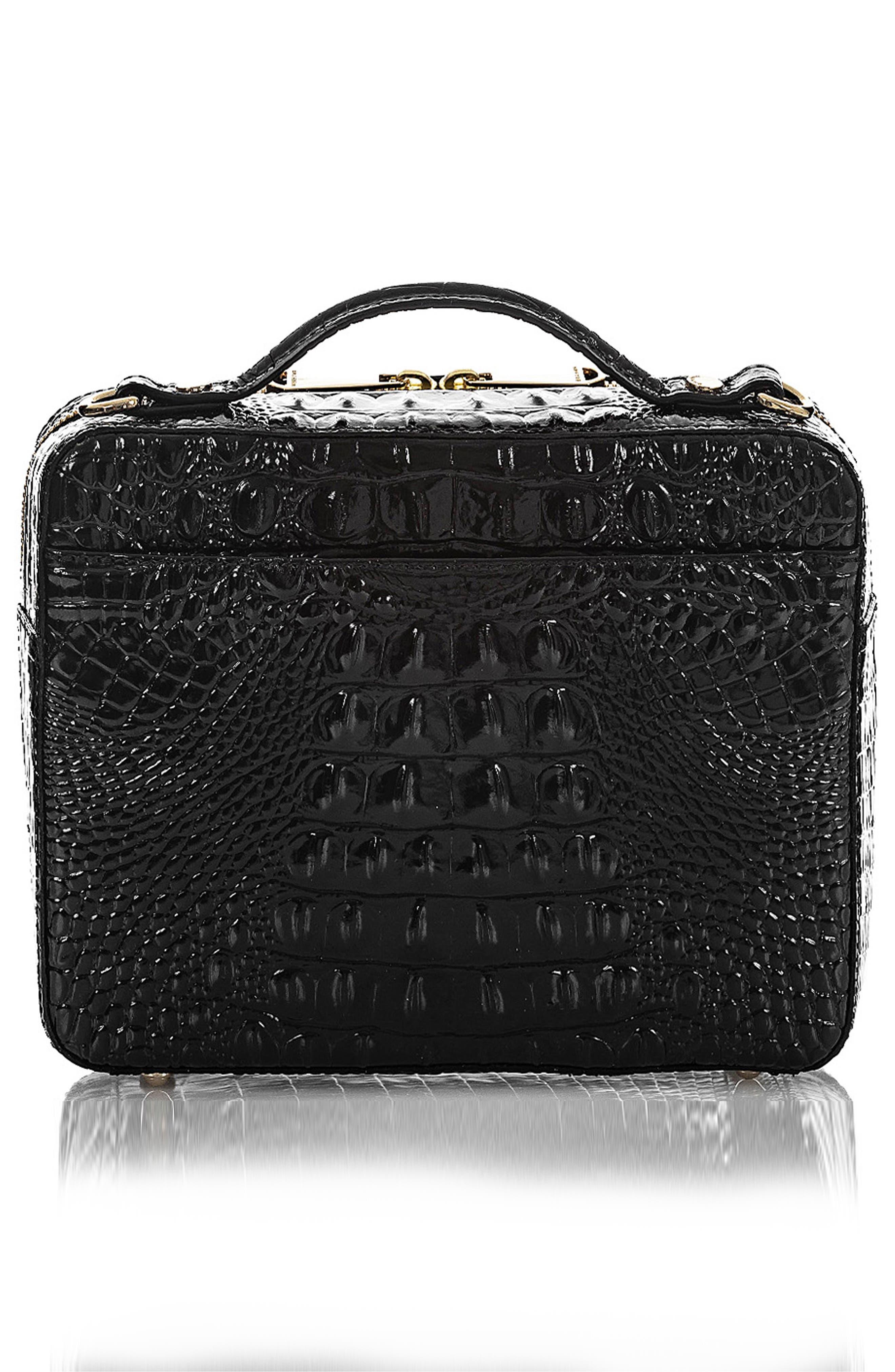 Evie Croc Embossed Leather Top Handle Bag,                             Alternate thumbnail 2, color,                             BLACK MEMBOURNE