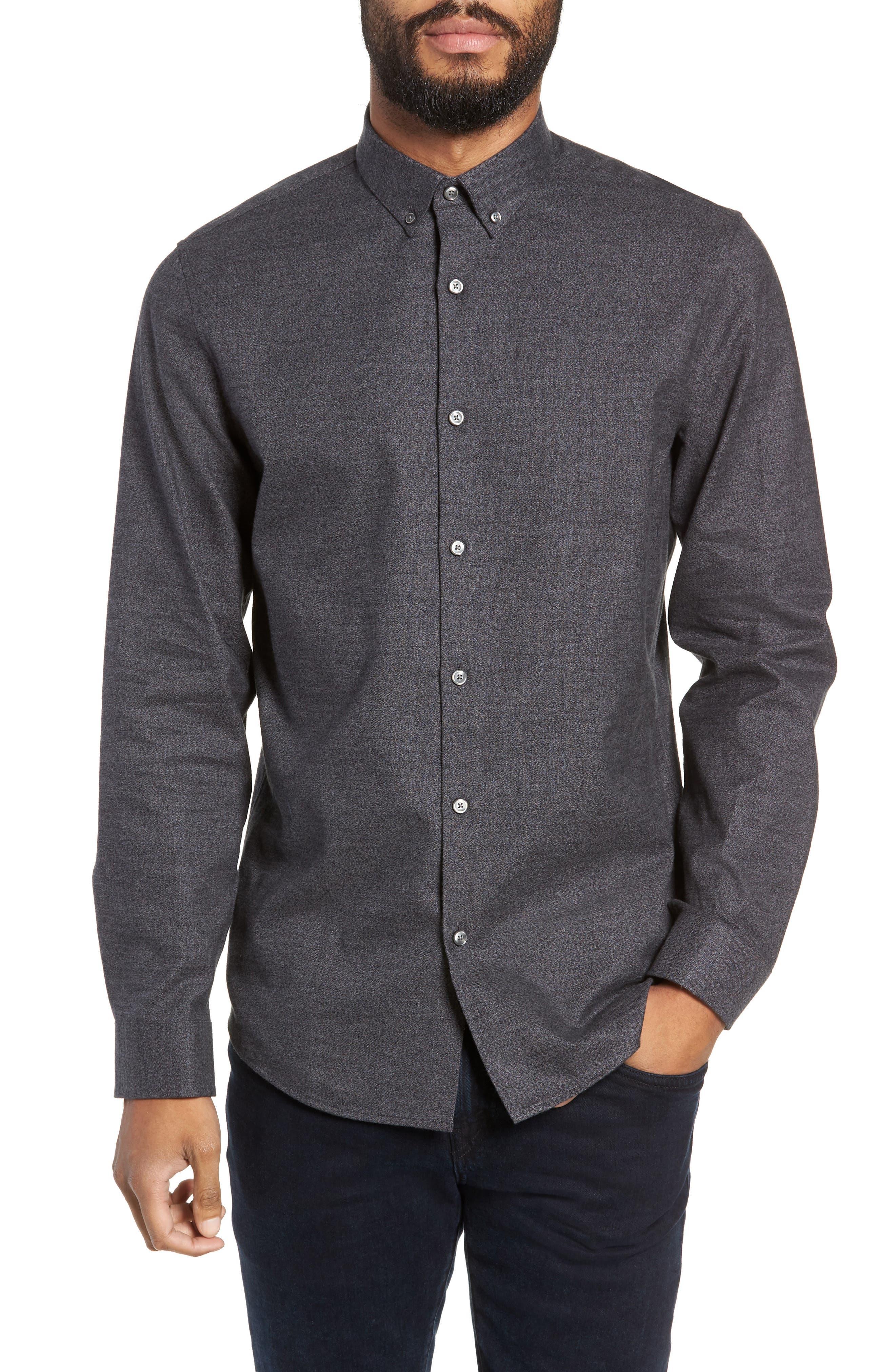 Slim Fit Mini Collar Mélange Sport Shirt,                         Main,                         color, GREY TORNADO JASPE