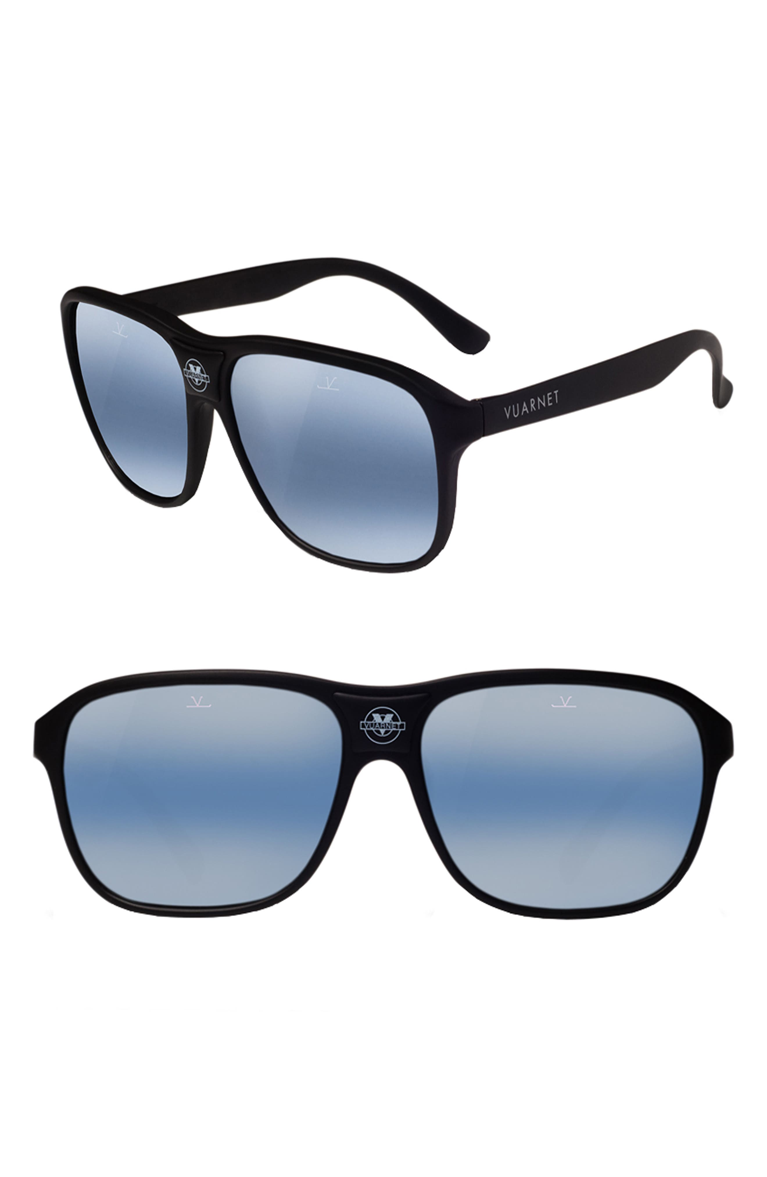 VUARNET Legends 03 56mm Polarized Sunglasses, Main, color, BLUE POLARLYNX