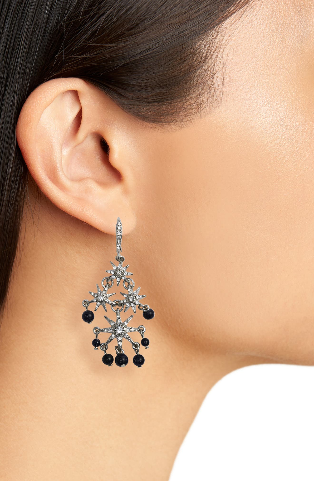 Star Chandelier Drop Earrings,                             Alternate thumbnail 3, color,