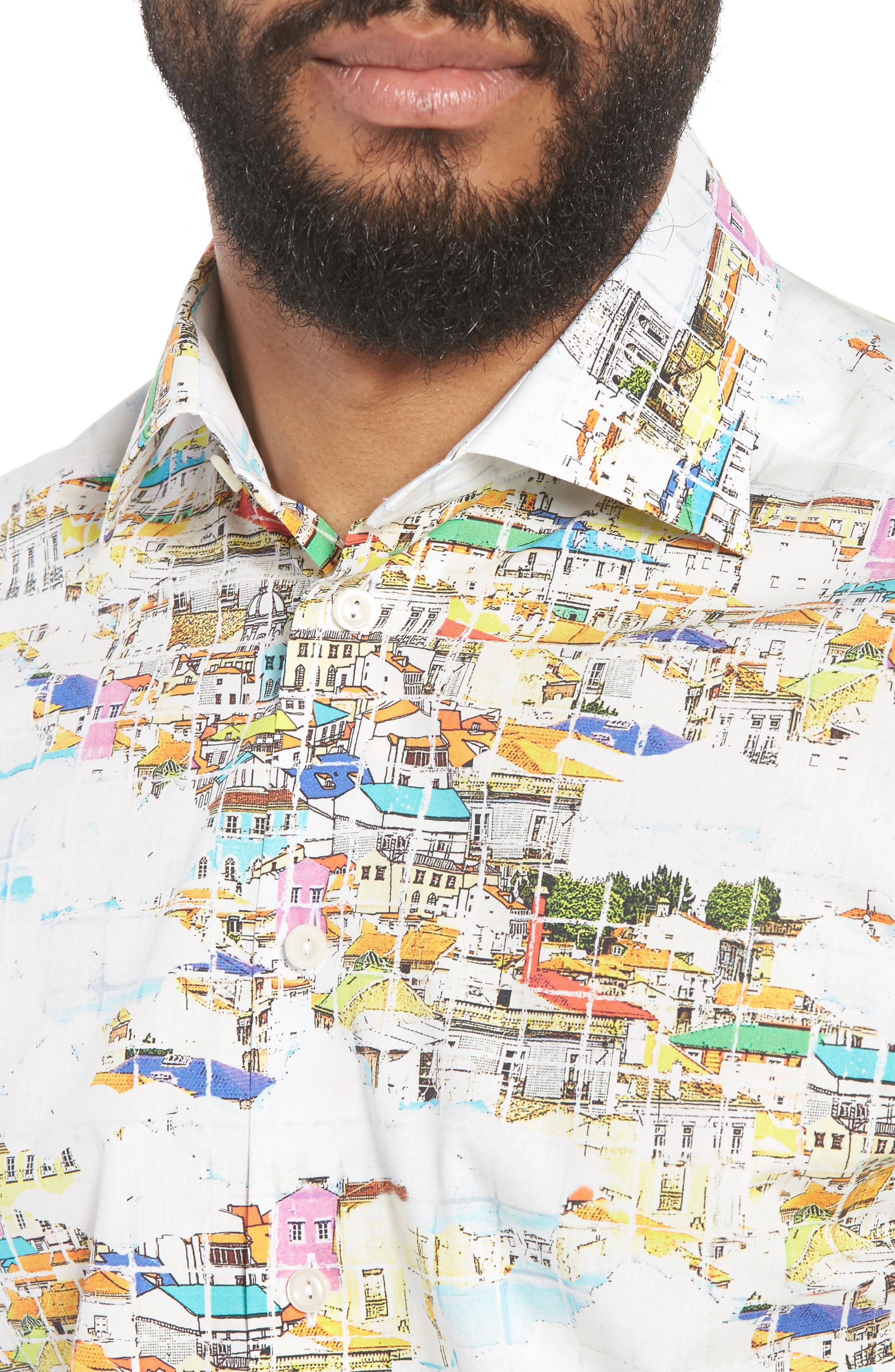 Slim Fit Print Dress Shirt,                             Alternate thumbnail 2, color,                             YELLOW
