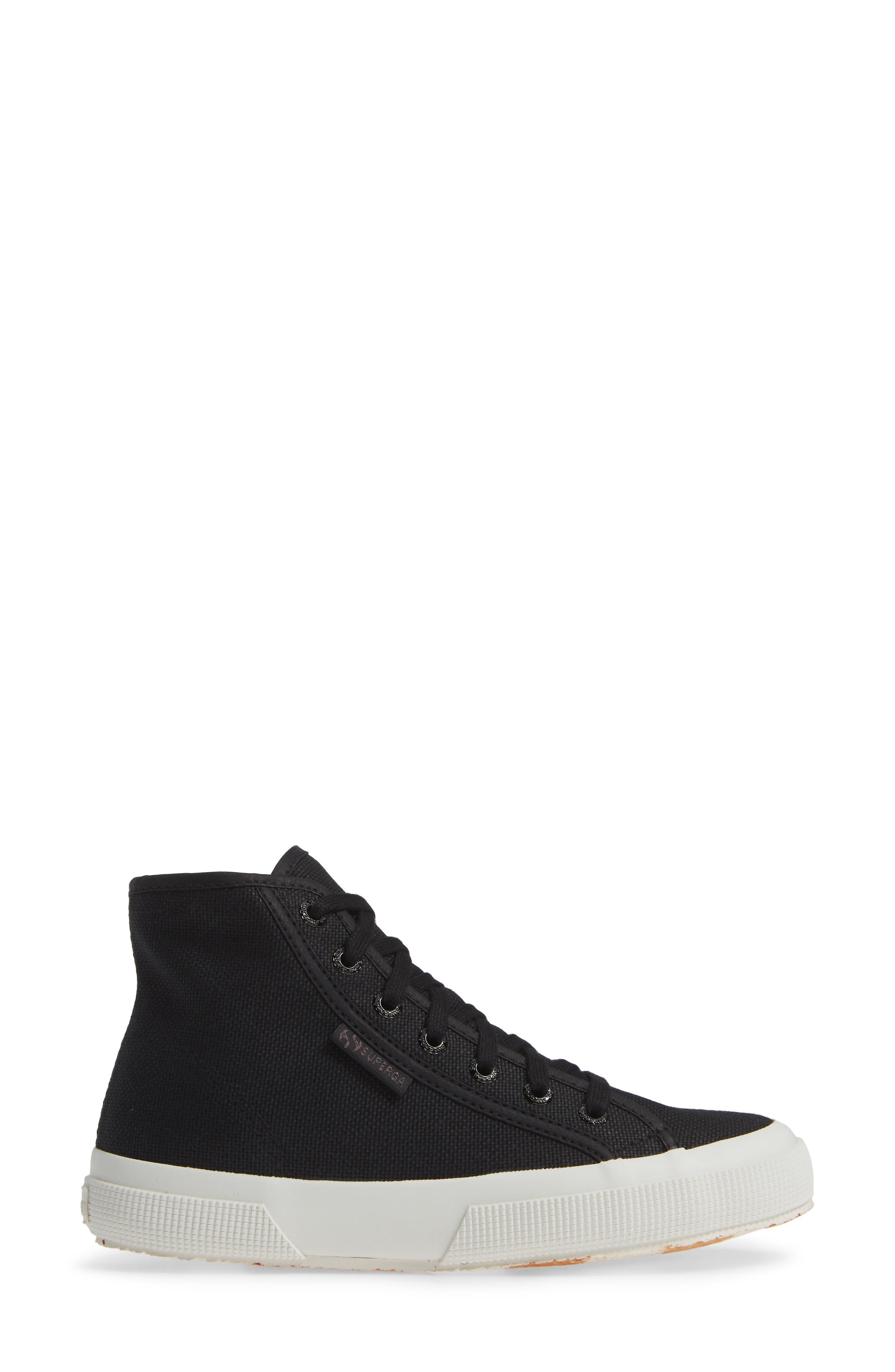 2795 High Top Sneaker,                             Alternate thumbnail 3, color,                             BLACK/ WHITE