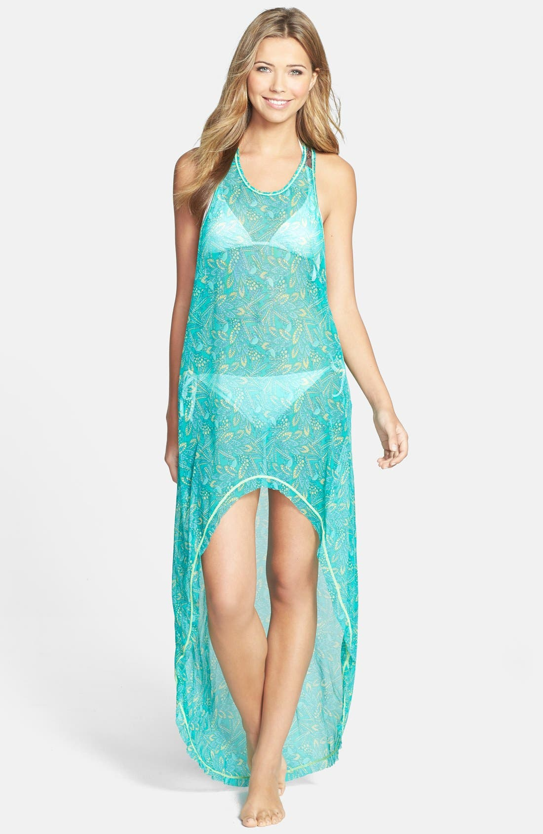 'Darling Sparrow' High/Low Cover-Up Dress,                             Main thumbnail 1, color,                             300