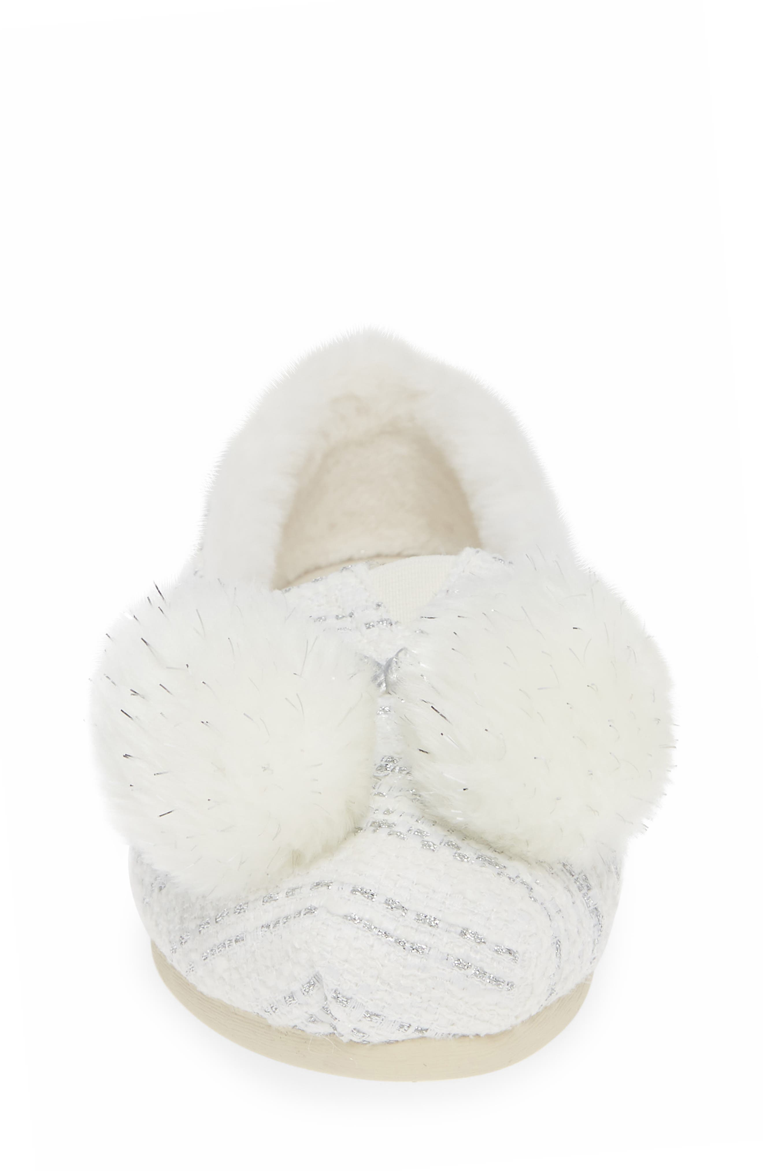 Alpargata Slip-On with Faux Fur Lining & Pompoms,                             Alternate thumbnail 4, color,                             SILVER FABRIC