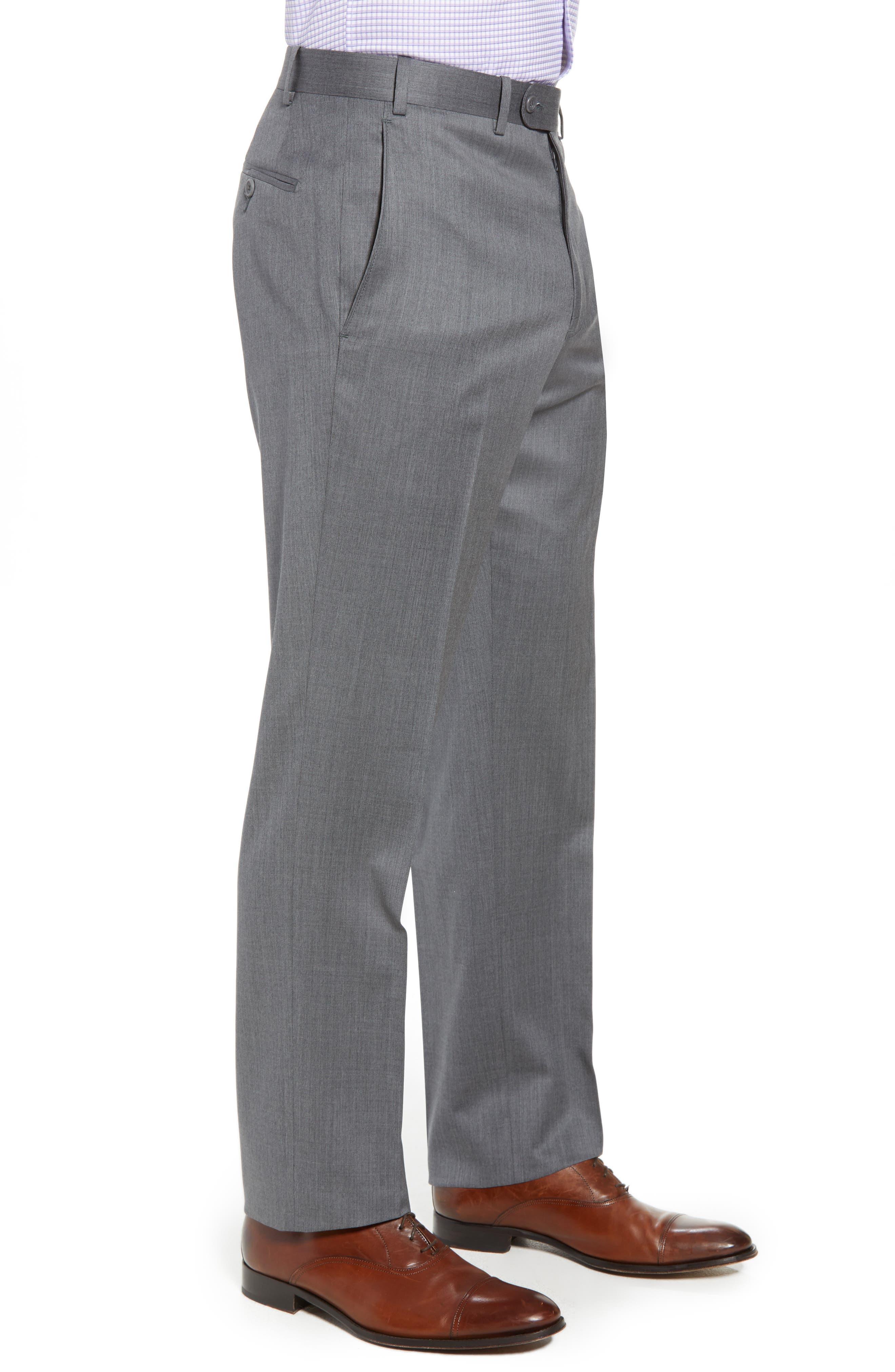 Torino Flat Front Wool Gabardine Trousers,                             Alternate thumbnail 15, color,