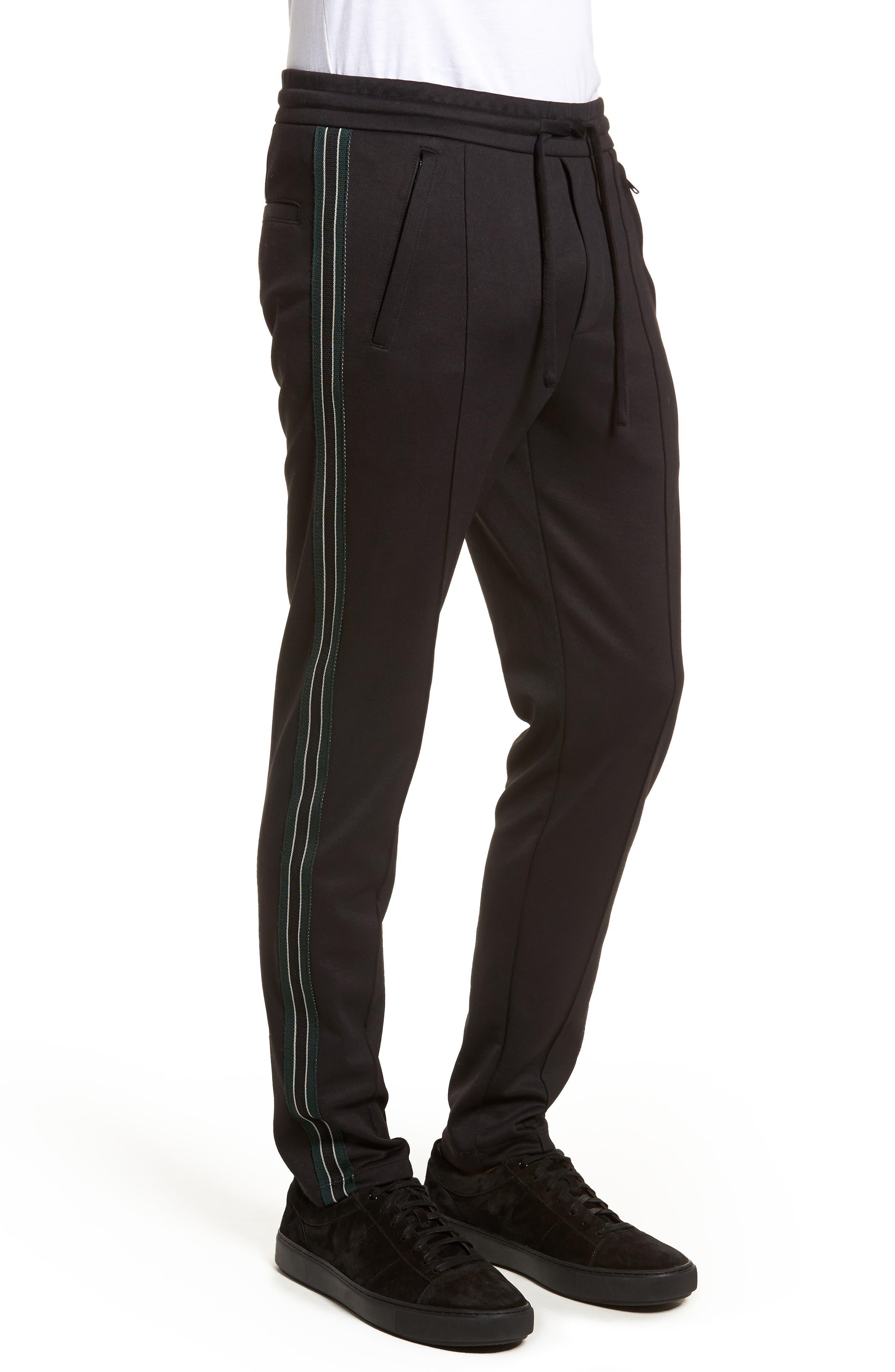 Slim Fit Track Pants,                             Alternate thumbnail 3, color,                             BLACK