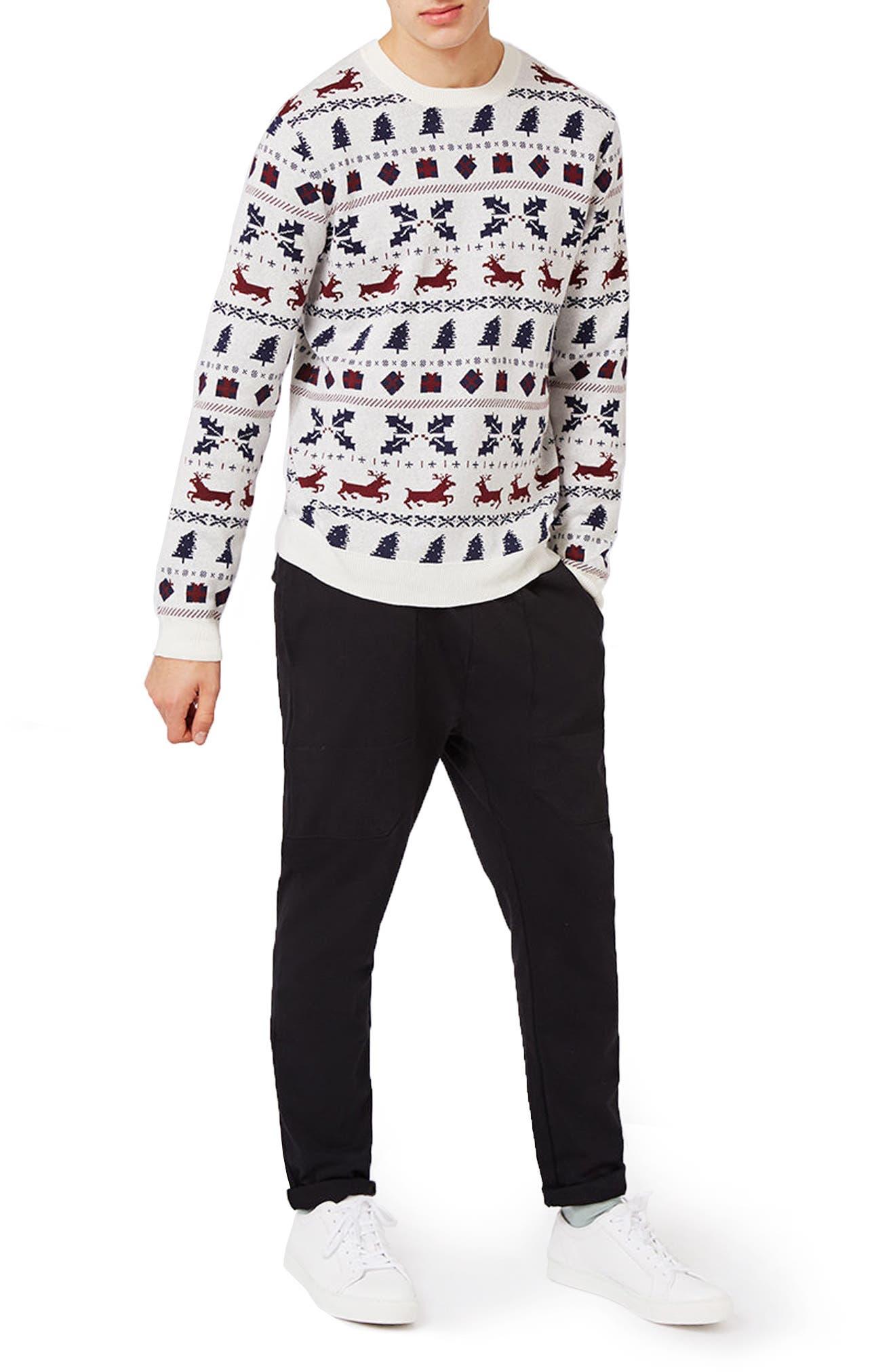 TOPMAN,                             Christmas Fair Isle Sweater,                             Alternate thumbnail 5, color,                             901