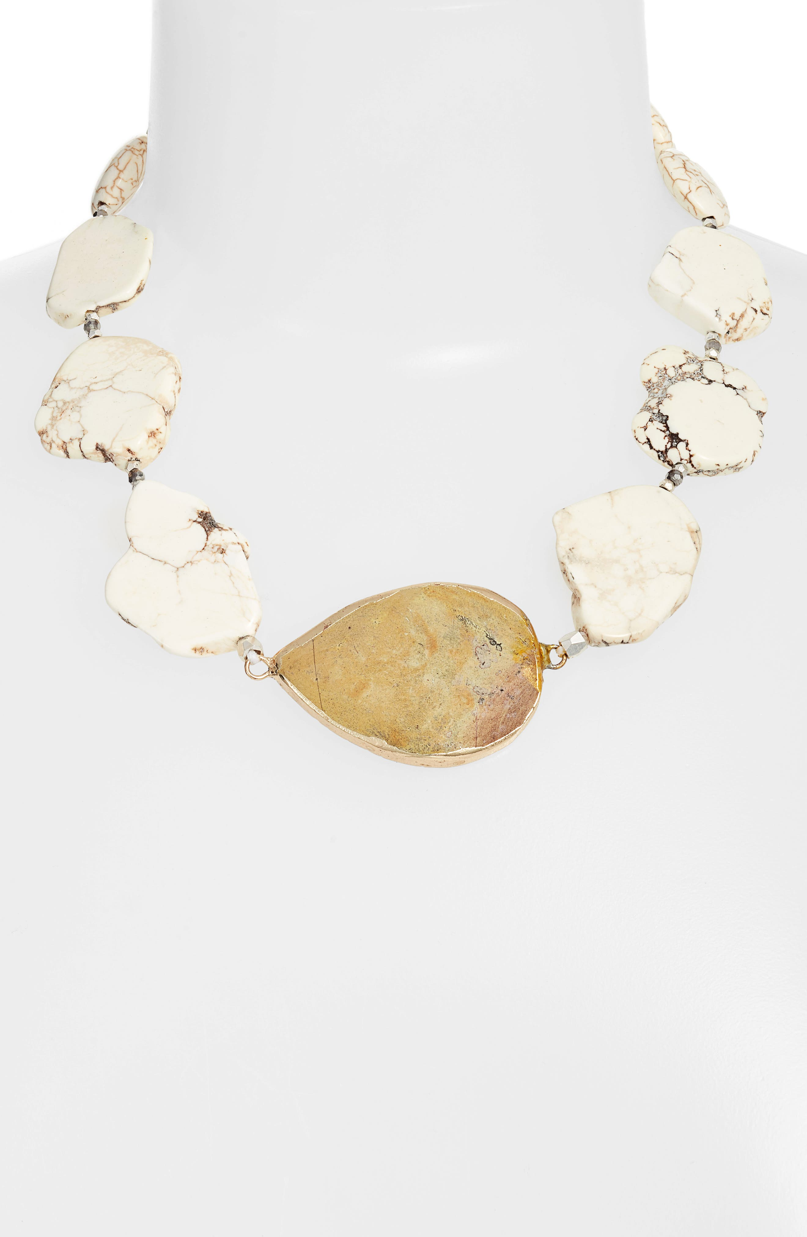 Chunky Stone Necklace,                             Alternate thumbnail 2, color,                             WHITE