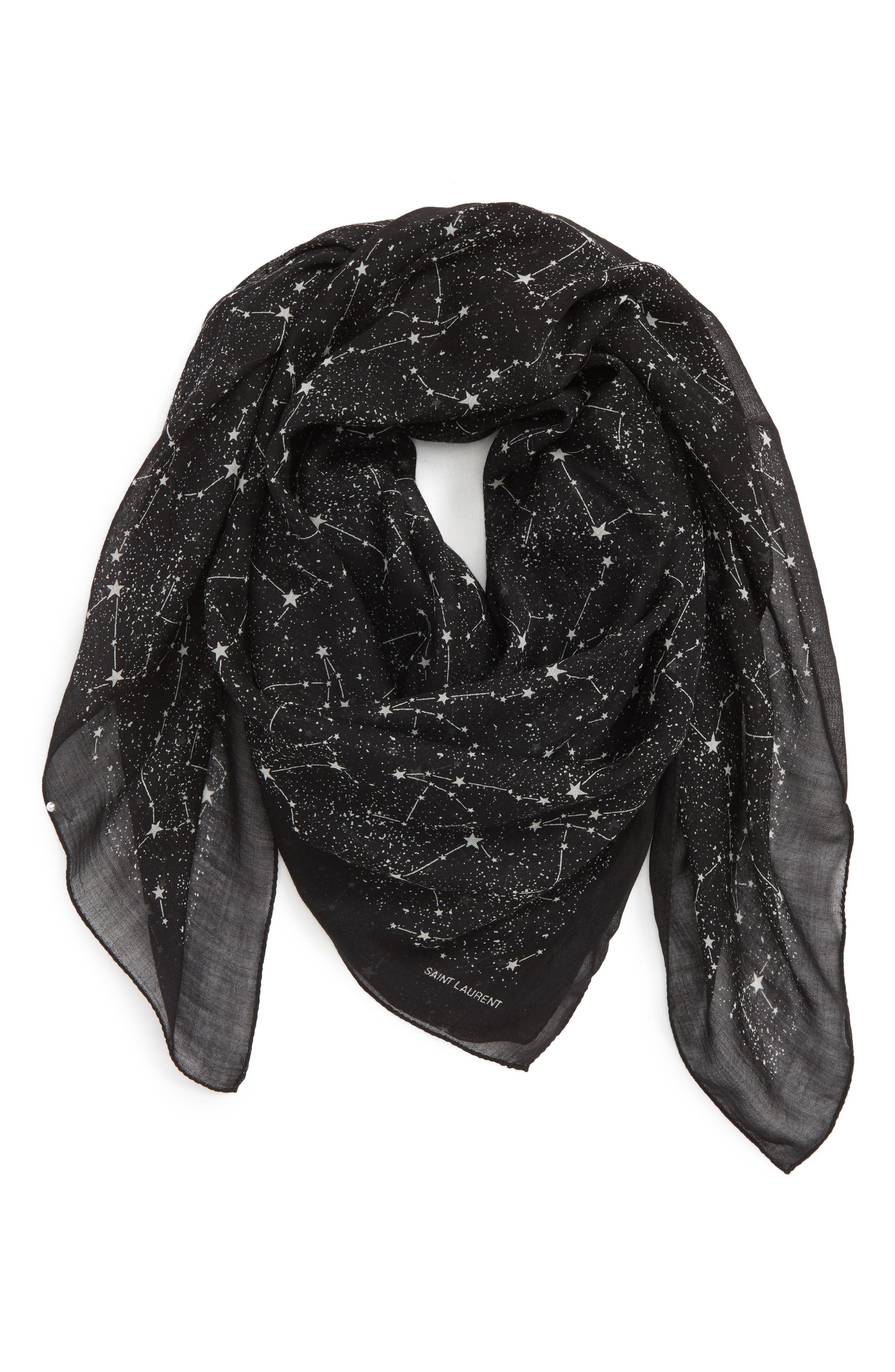 SAINT LAURENT Constellation Square Wool Scarf, Main, color, BLACK/ IVORY