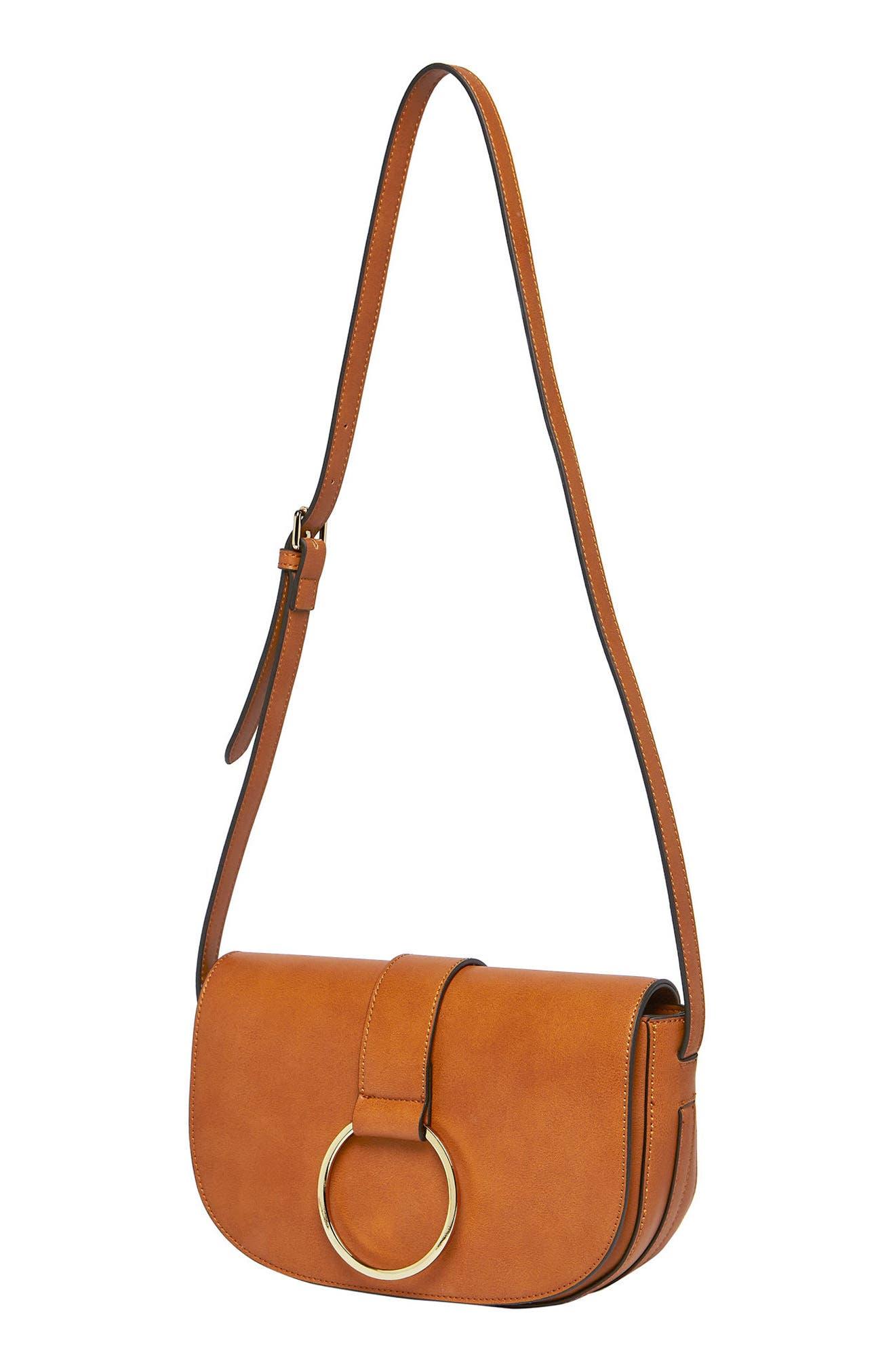Lola Vegan Leather Crossbody Saddle Bag,                             Alternate thumbnail 3, color,                             TAN