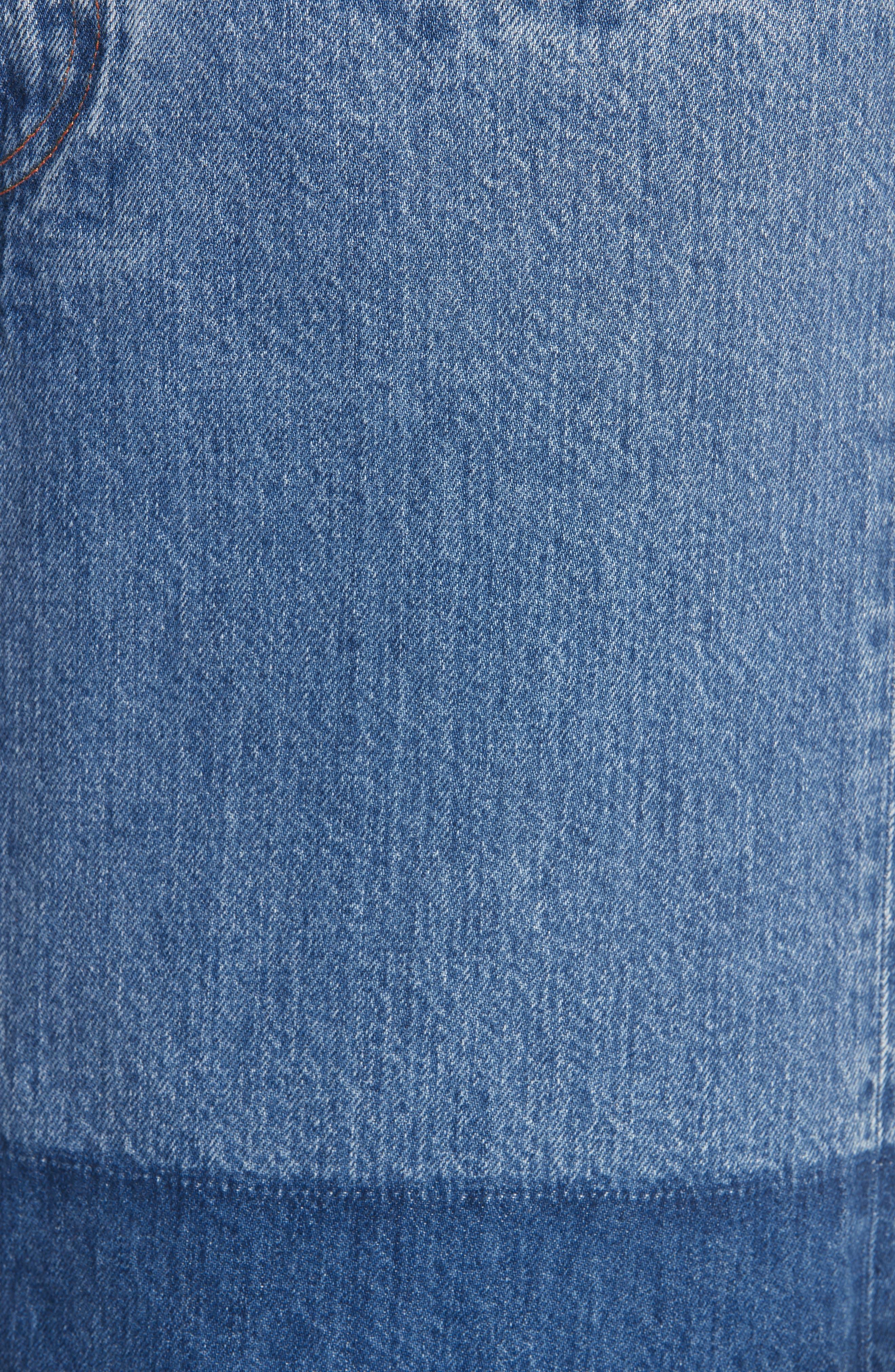 CALVIN KLEIN 205W39NYC,                             Reflective Stripe Mixed Wash Denim Skirt,                             Alternate thumbnail 5, color,                             BLUE