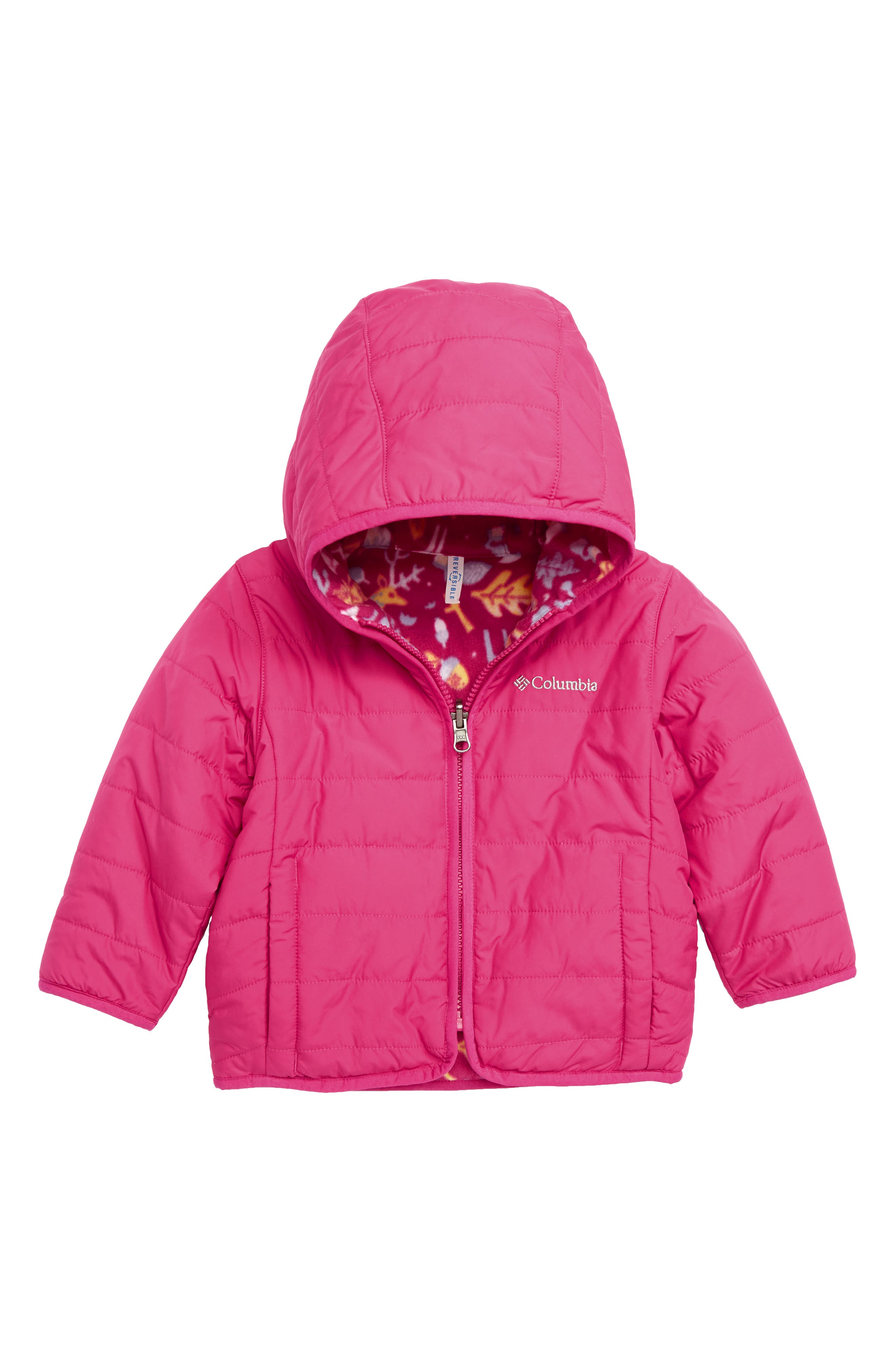 Double Trouble Reversible Water-Resistant Hooded Jacket,                         Main,                         color, CACTUS PINK