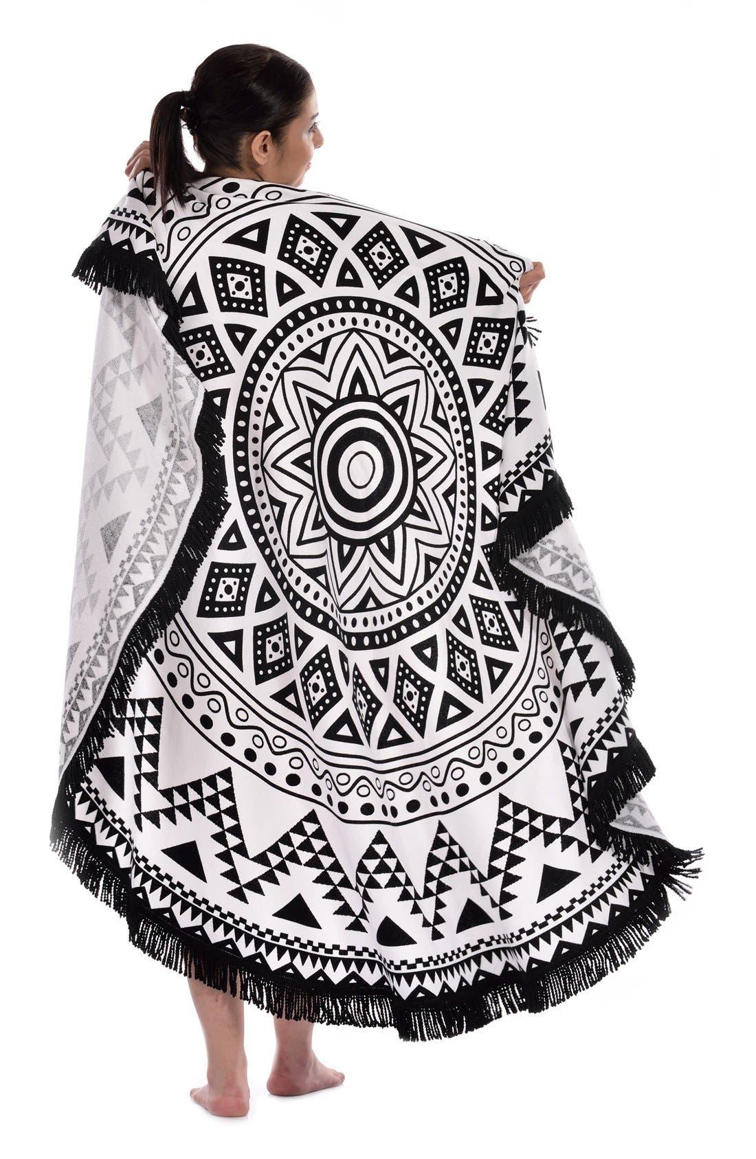 'Kilim' Turkish Pestemal Round Beach Towel,                             Alternate thumbnail 2, color,                             BLACK/ WHITE