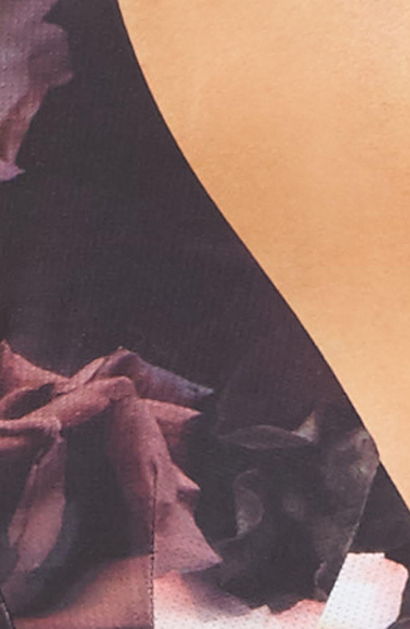 Dark Blooms T-Back Bralette,                             Alternate thumbnail 5, color,                             001