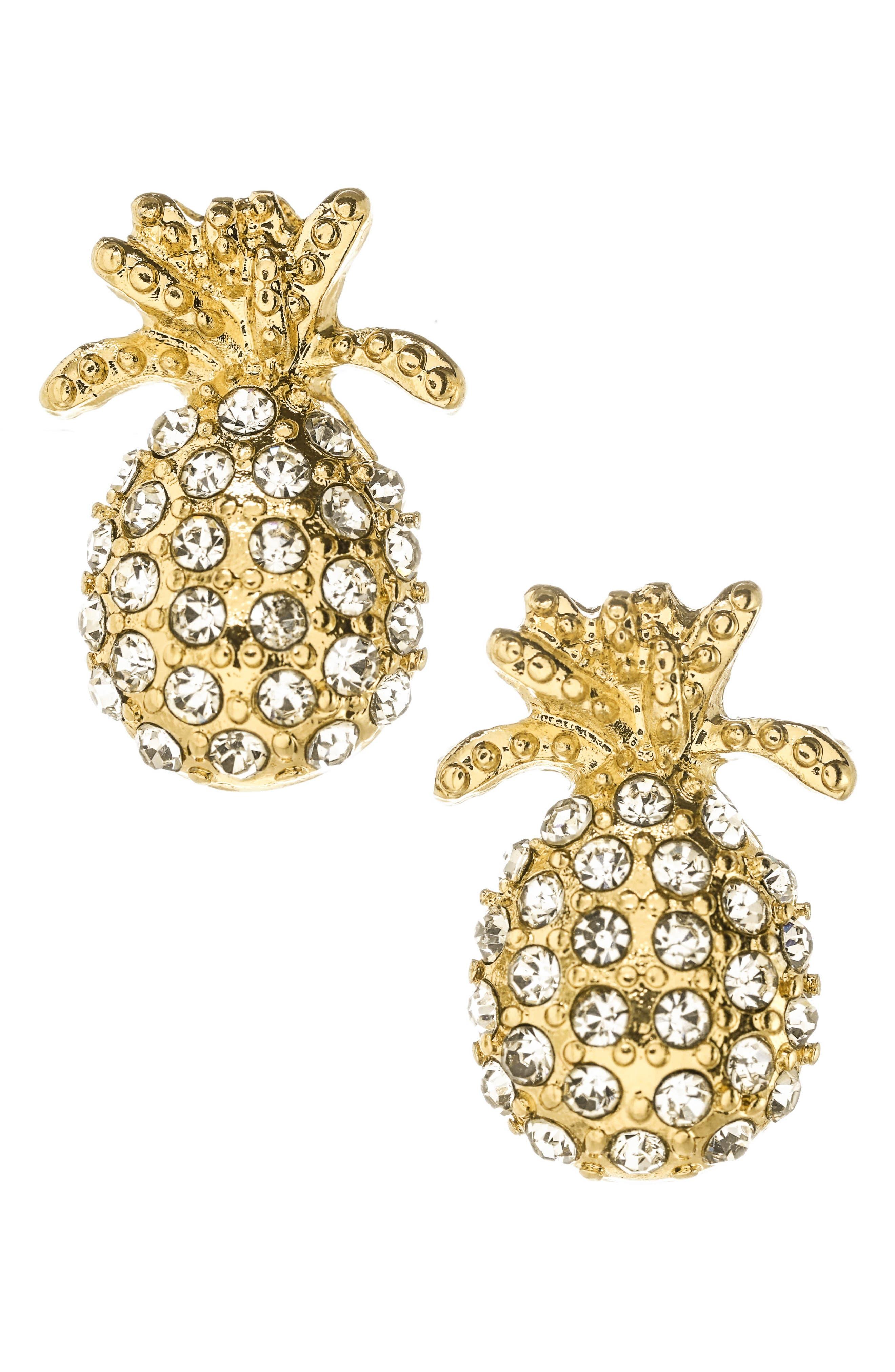 Pineapple Post Earrings,                             Main thumbnail 1, color,                             710