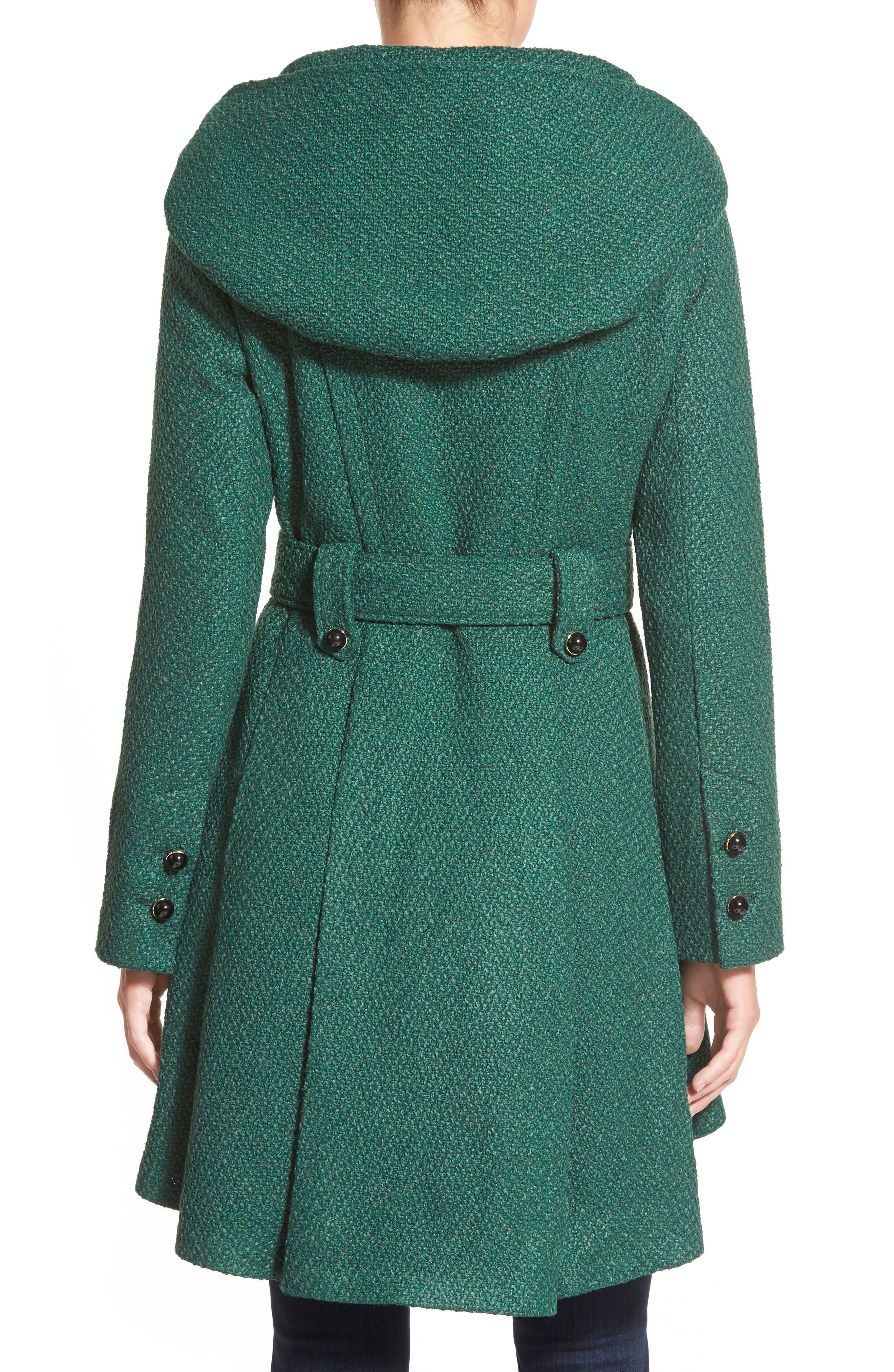 Belted Hooded Skirted Coat,                             Alternate thumbnail 13, color,
