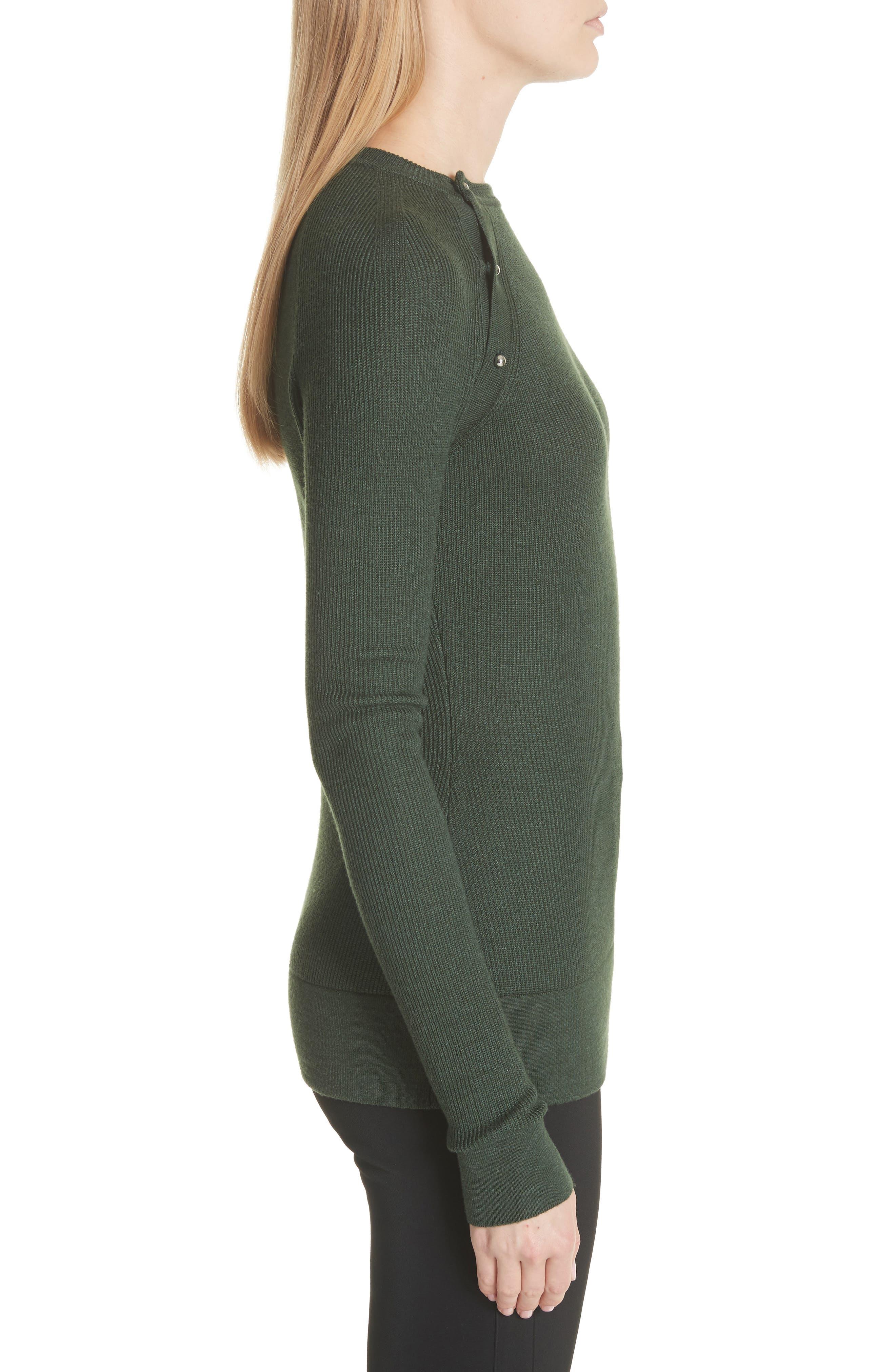Button Seam Silk & Merino Wool Sweater,                             Alternate thumbnail 3, color,                             368