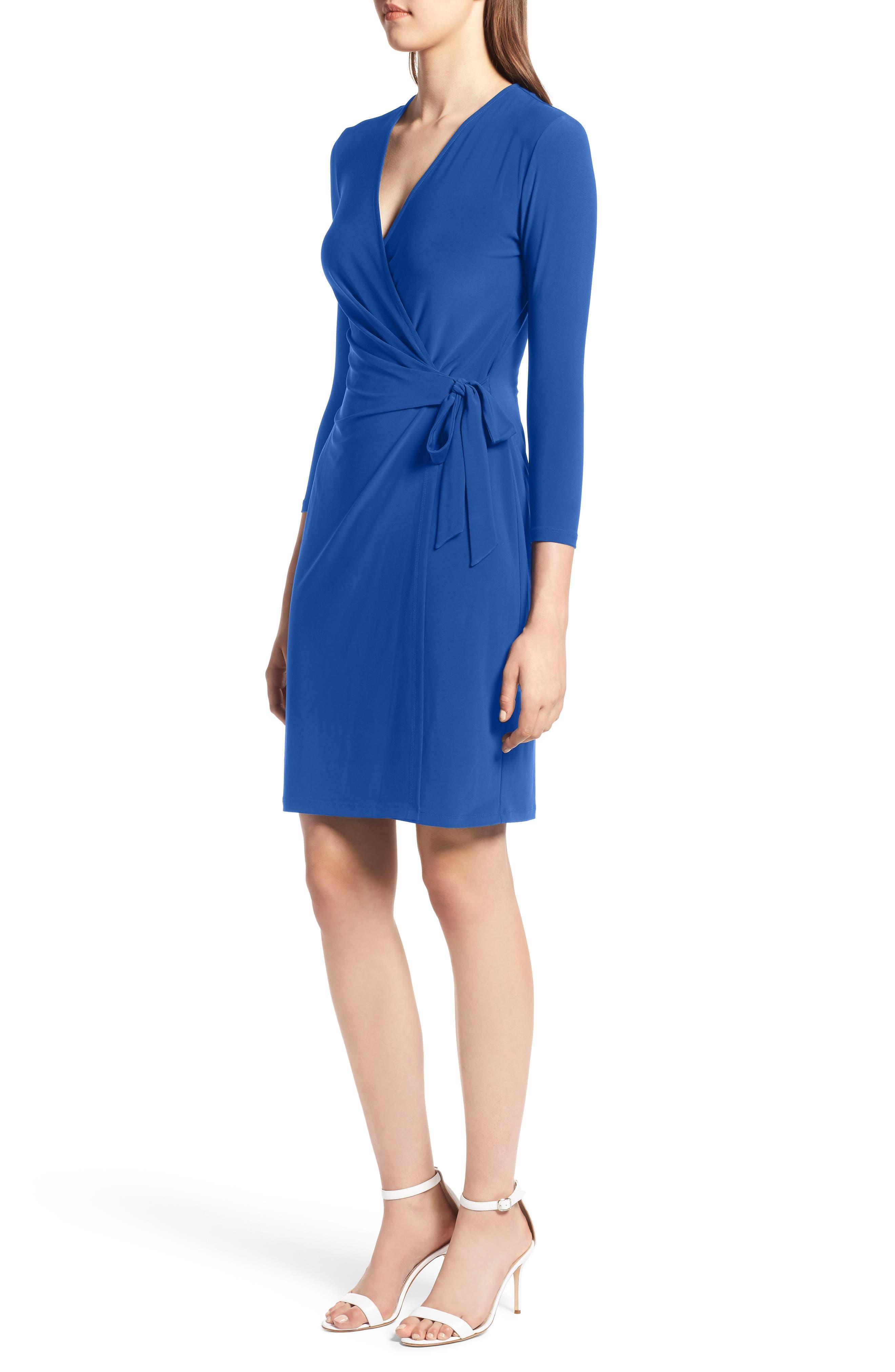 Faux Wrap Dress,                             Alternate thumbnail 3, color,                             CEZANNE BLUE