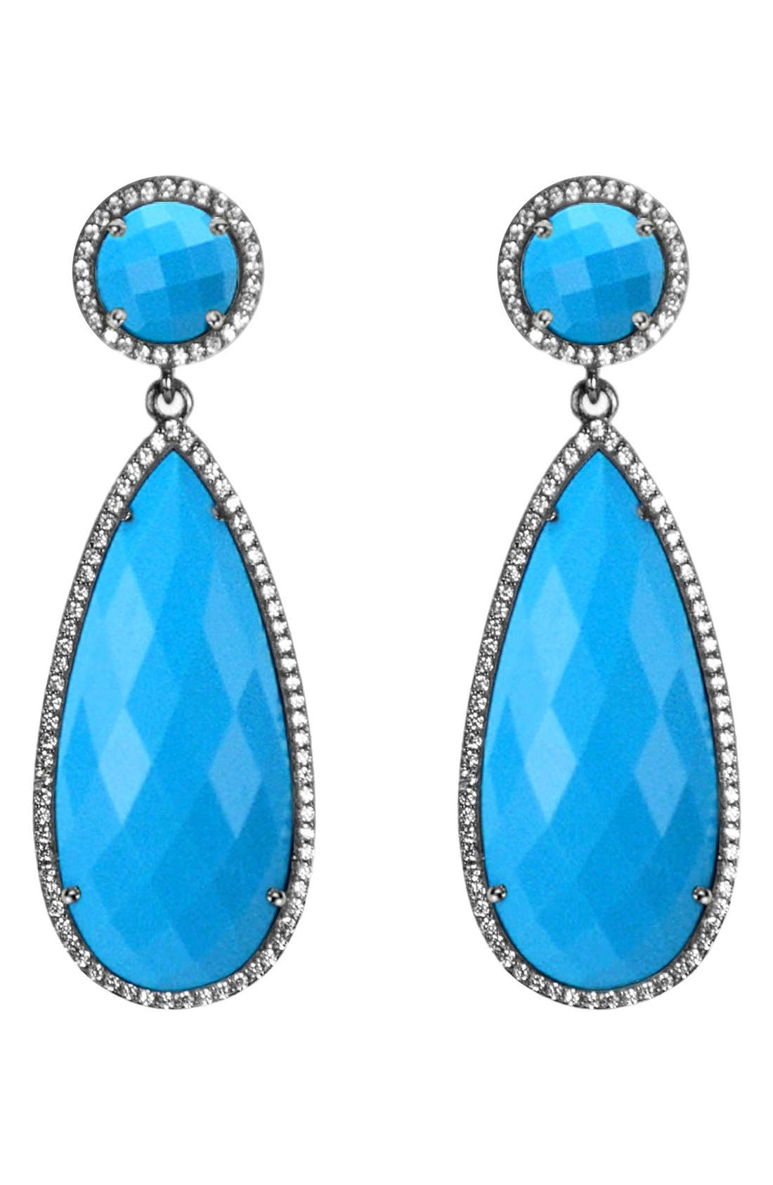 Semiprecious Stone Double Drop Earrings,                             Main thumbnail 4, color,