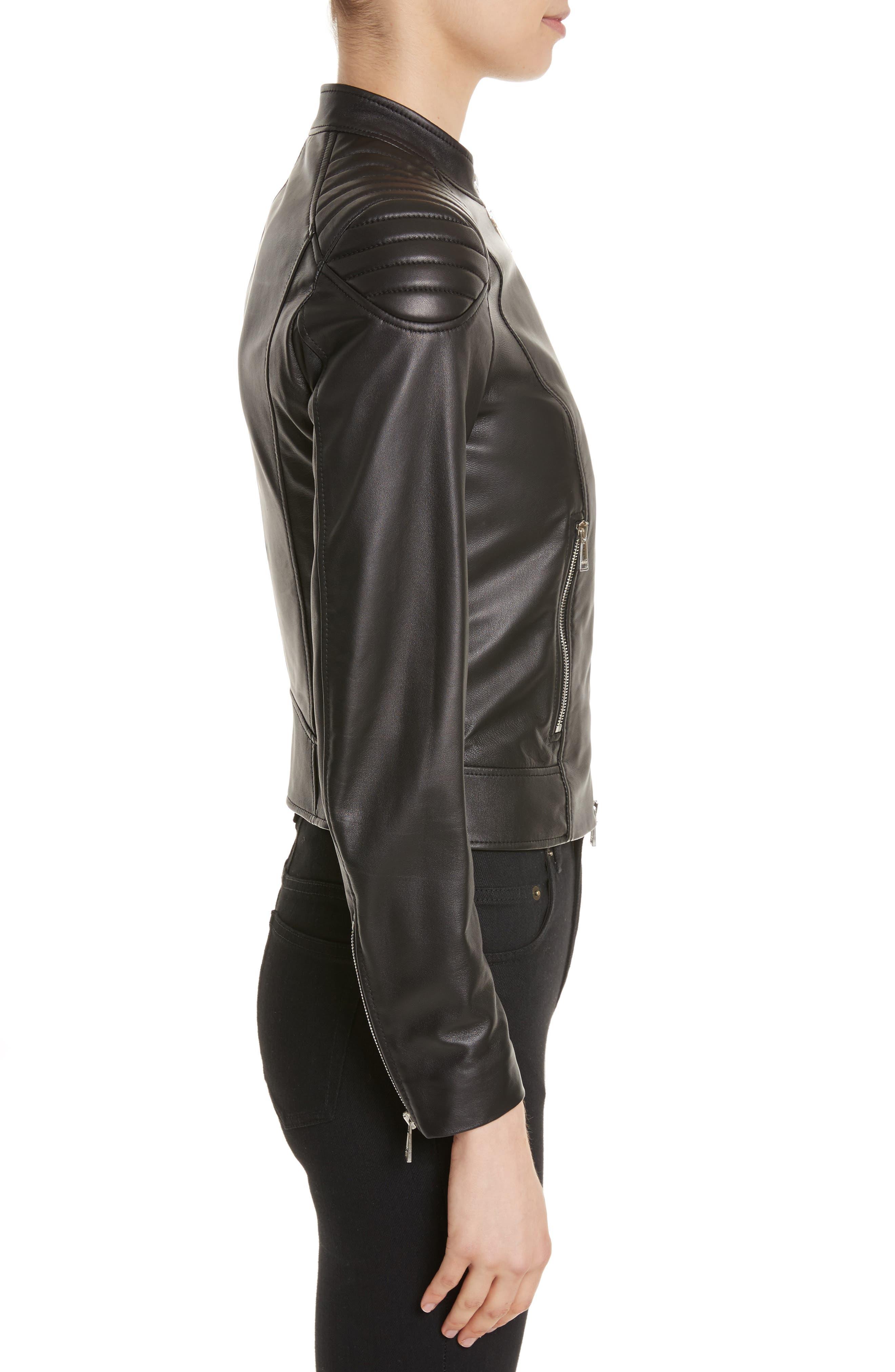 Mollison Leather Moto Jacket,                             Alternate thumbnail 8, color,