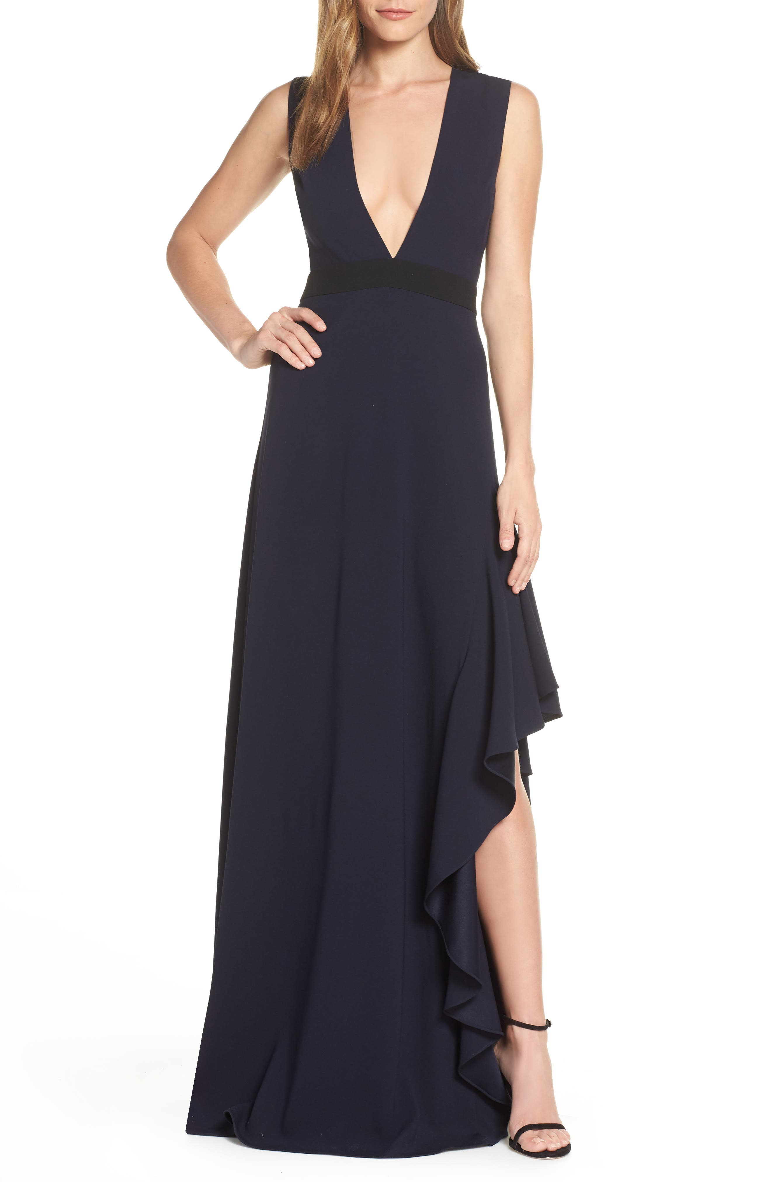 Ml Monique Lhullier Sleeveless Crepe Gown, Blue