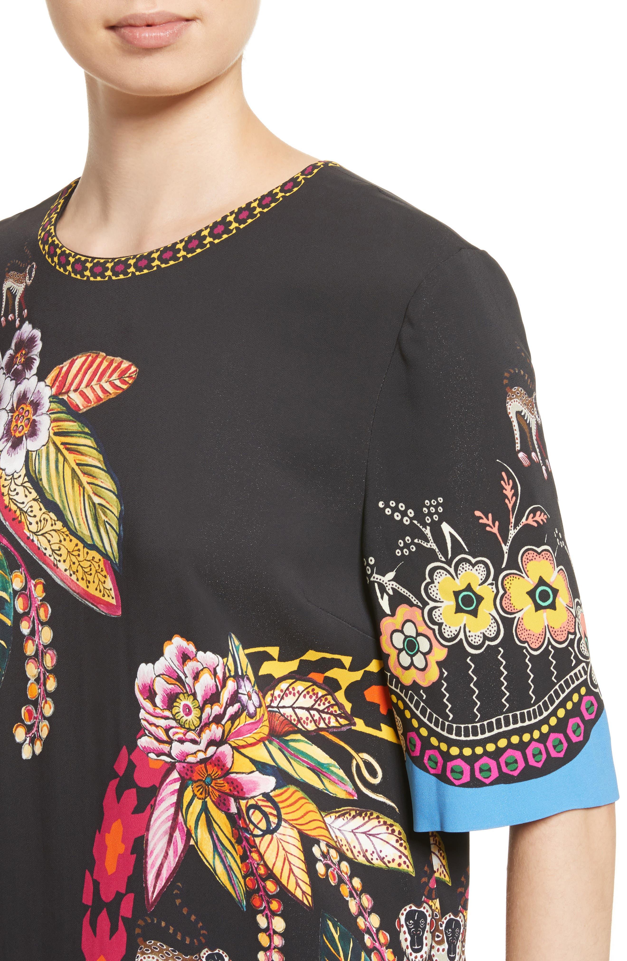 Floral Jungle & Animal Print Dress,                             Alternate thumbnail 4, color,                             001
