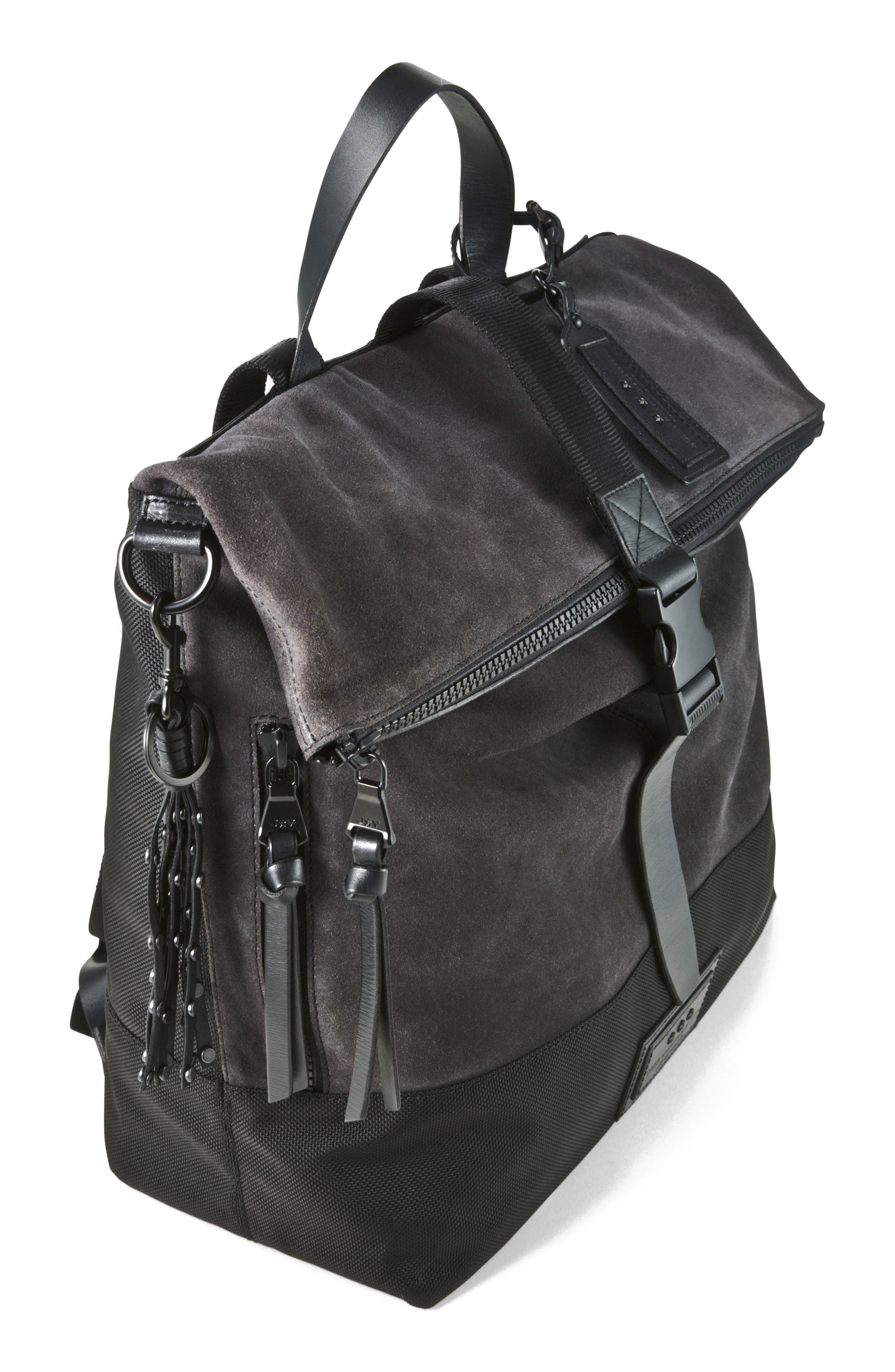 Suede & Ballistic Nylon Backpack,                             Alternate thumbnail 4, color,                             094