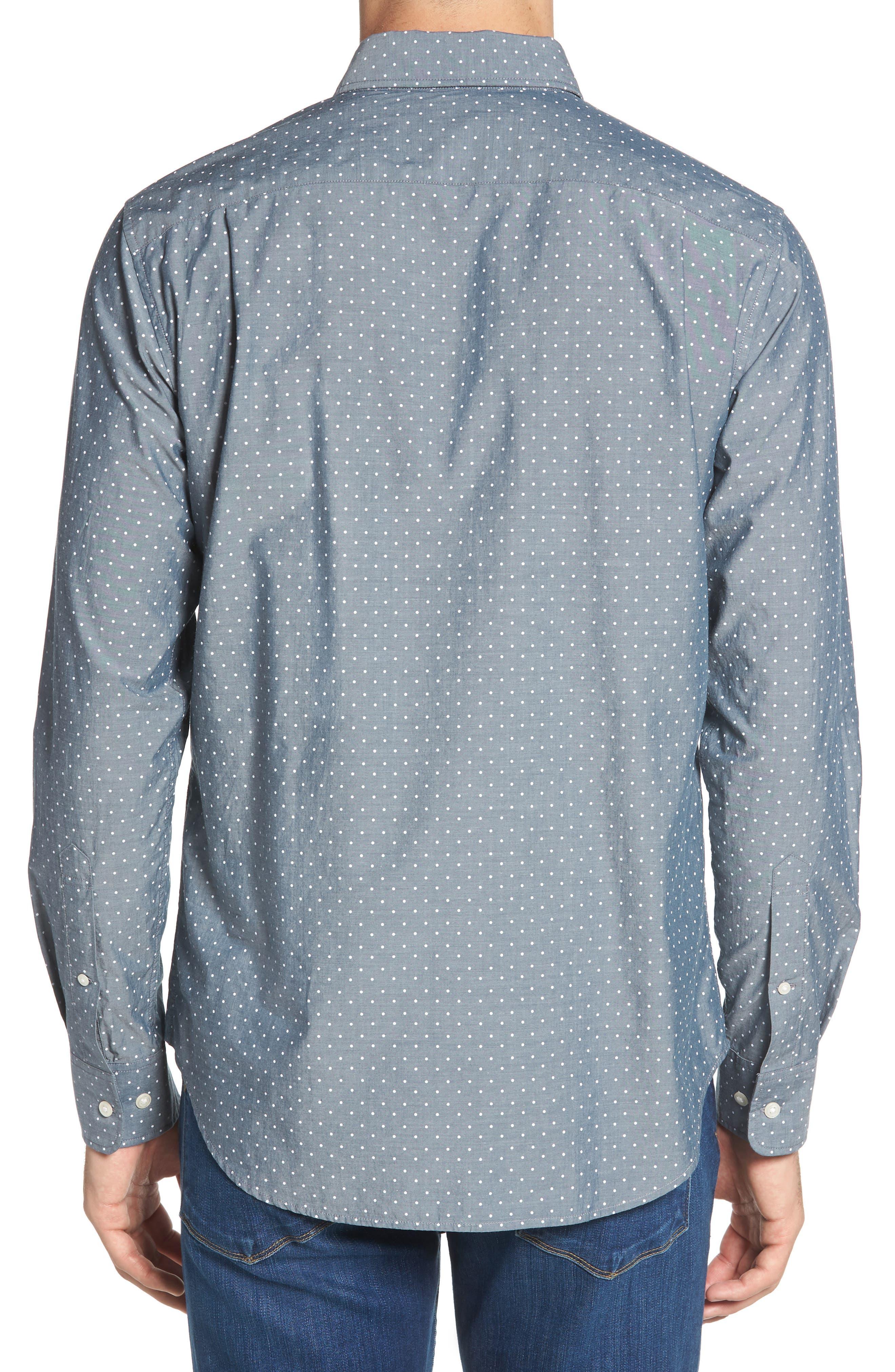 Summerweight Slim Fit Dot Sport Shirt,                             Alternate thumbnail 2, color,