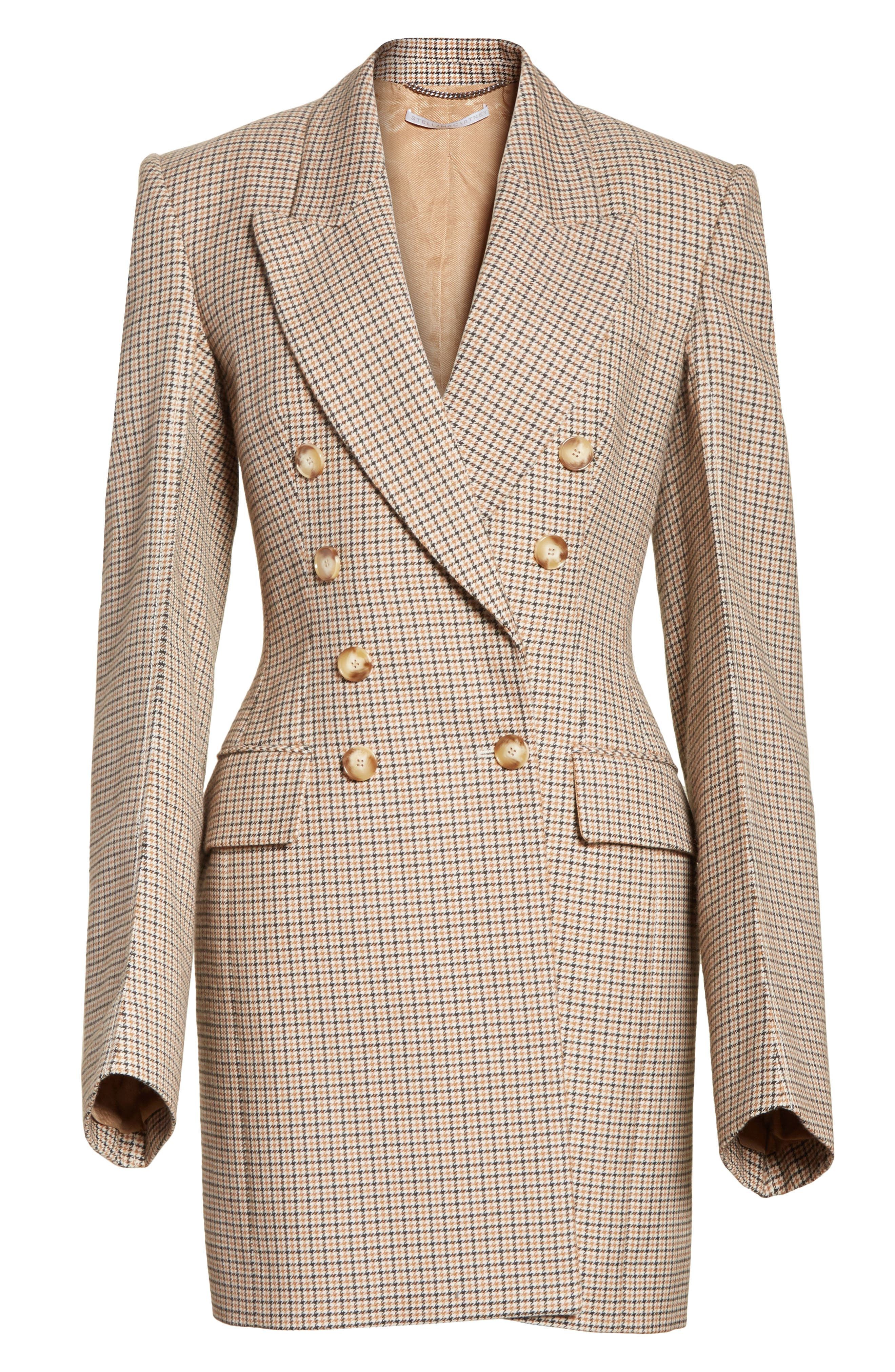 Check Wool Double Breasted Jacket,                             Alternate thumbnail 6, color,