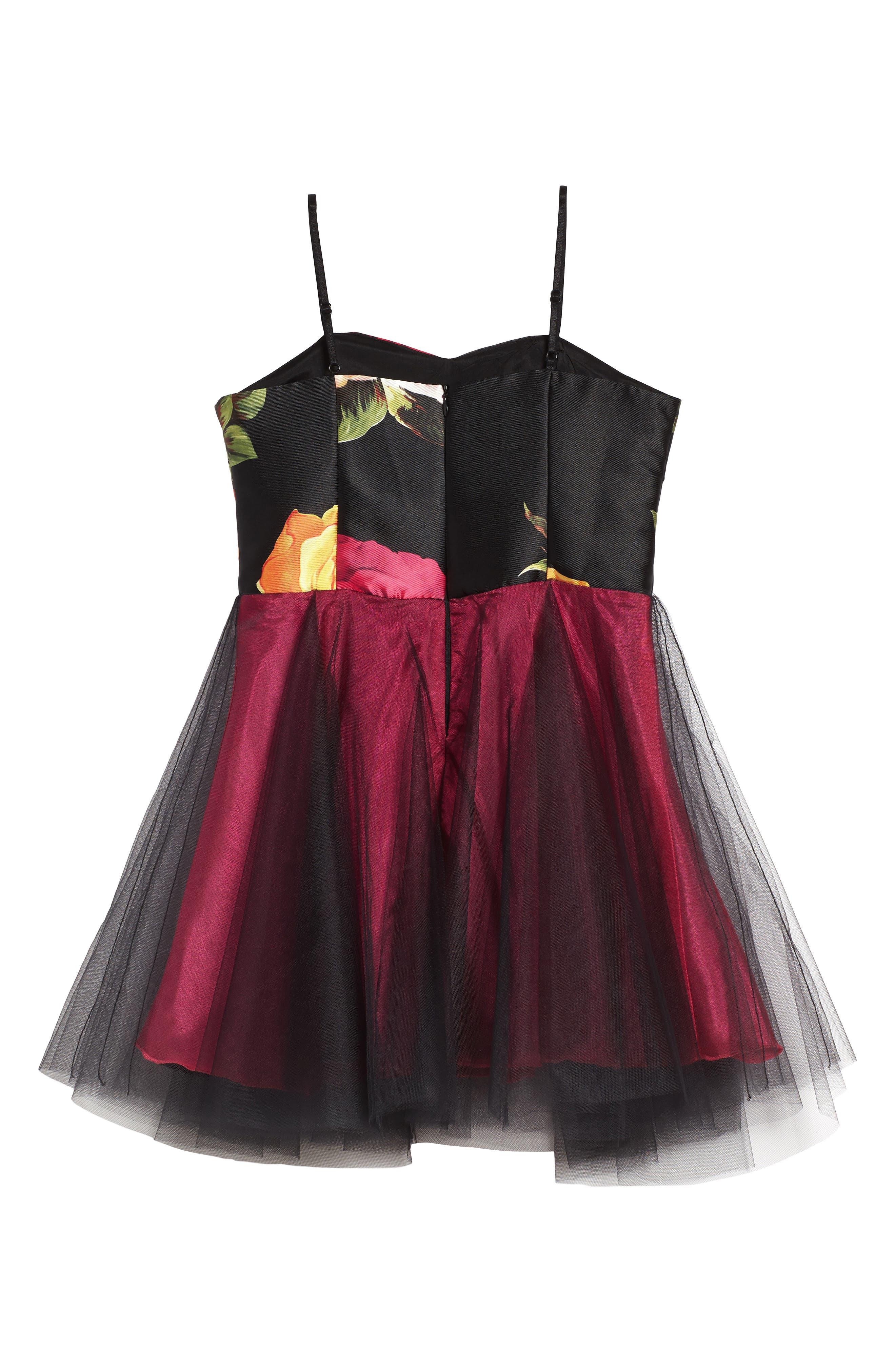 Floral Print Tulle Dress,                             Alternate thumbnail 2, color,                             002