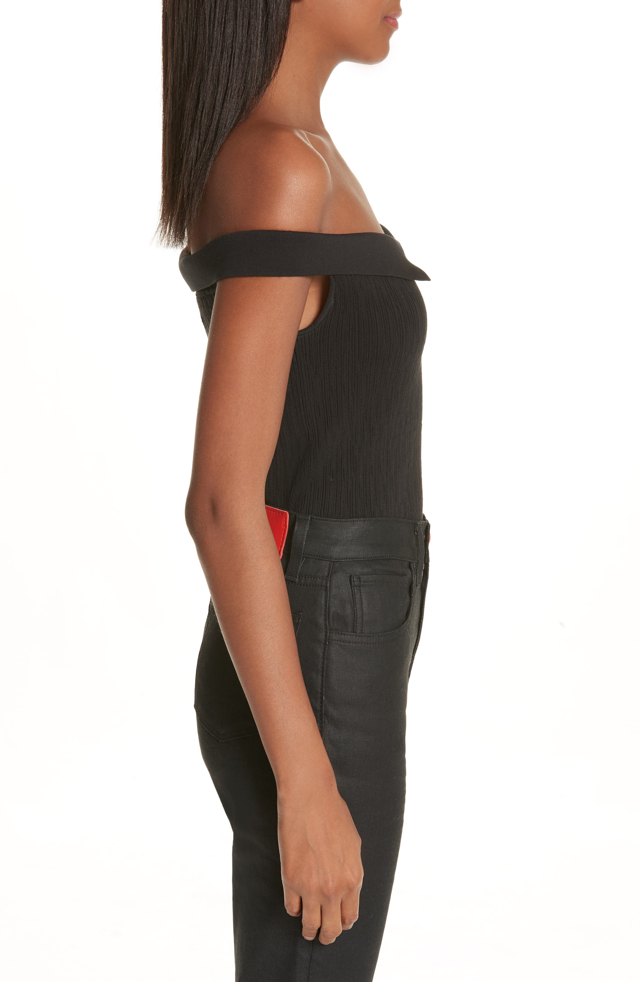 x Paramount Grease Ribbed Off the Shoulder Top,                             Alternate thumbnail 3, color,                             DANNY BLACK