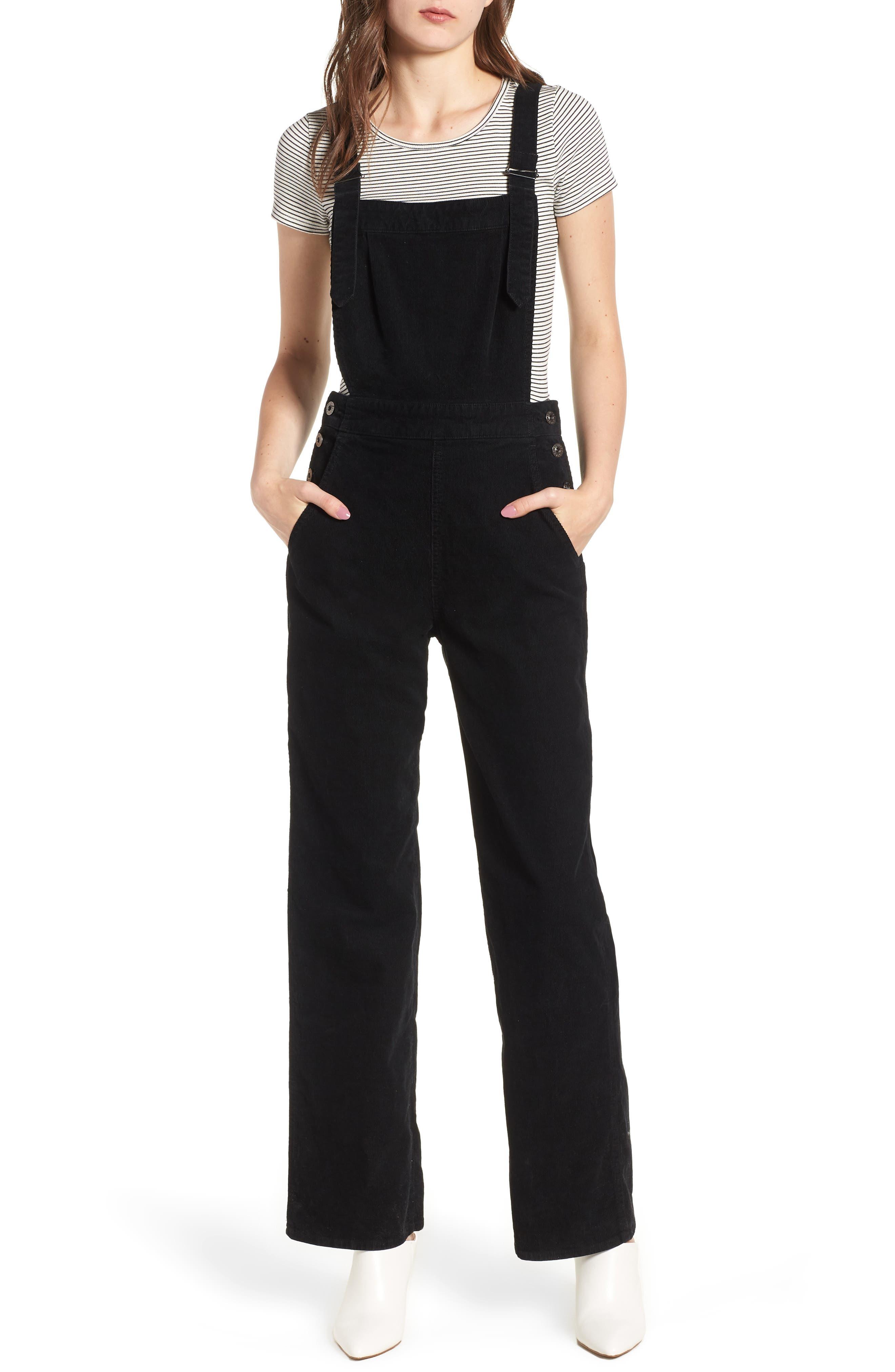 Gwendolyn Corduroy Overalls,                         Main,                         color, SULFUR BLACK