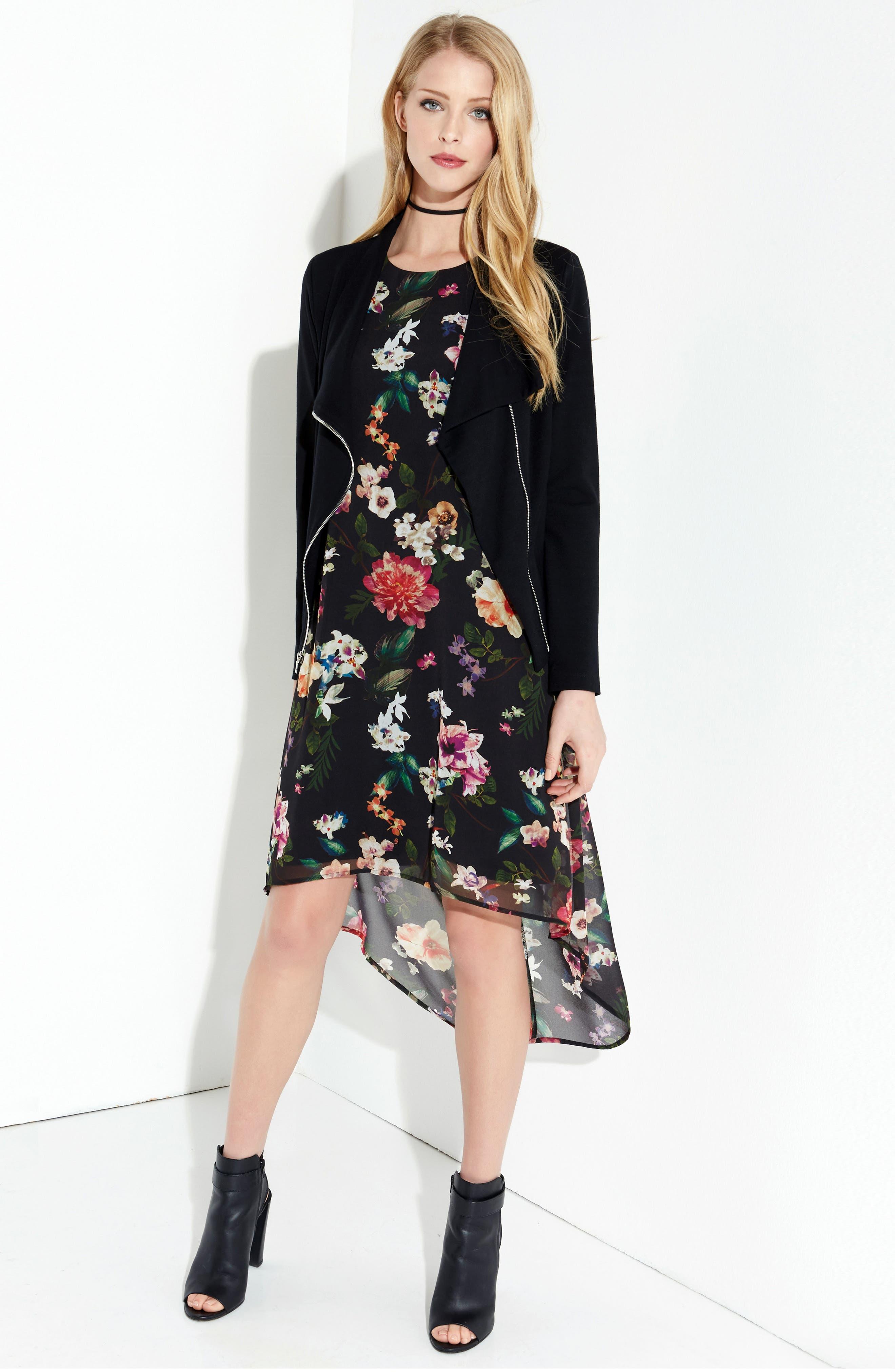 Floral High/Low A-Line Dress,                             Alternate thumbnail 3, color,                             560