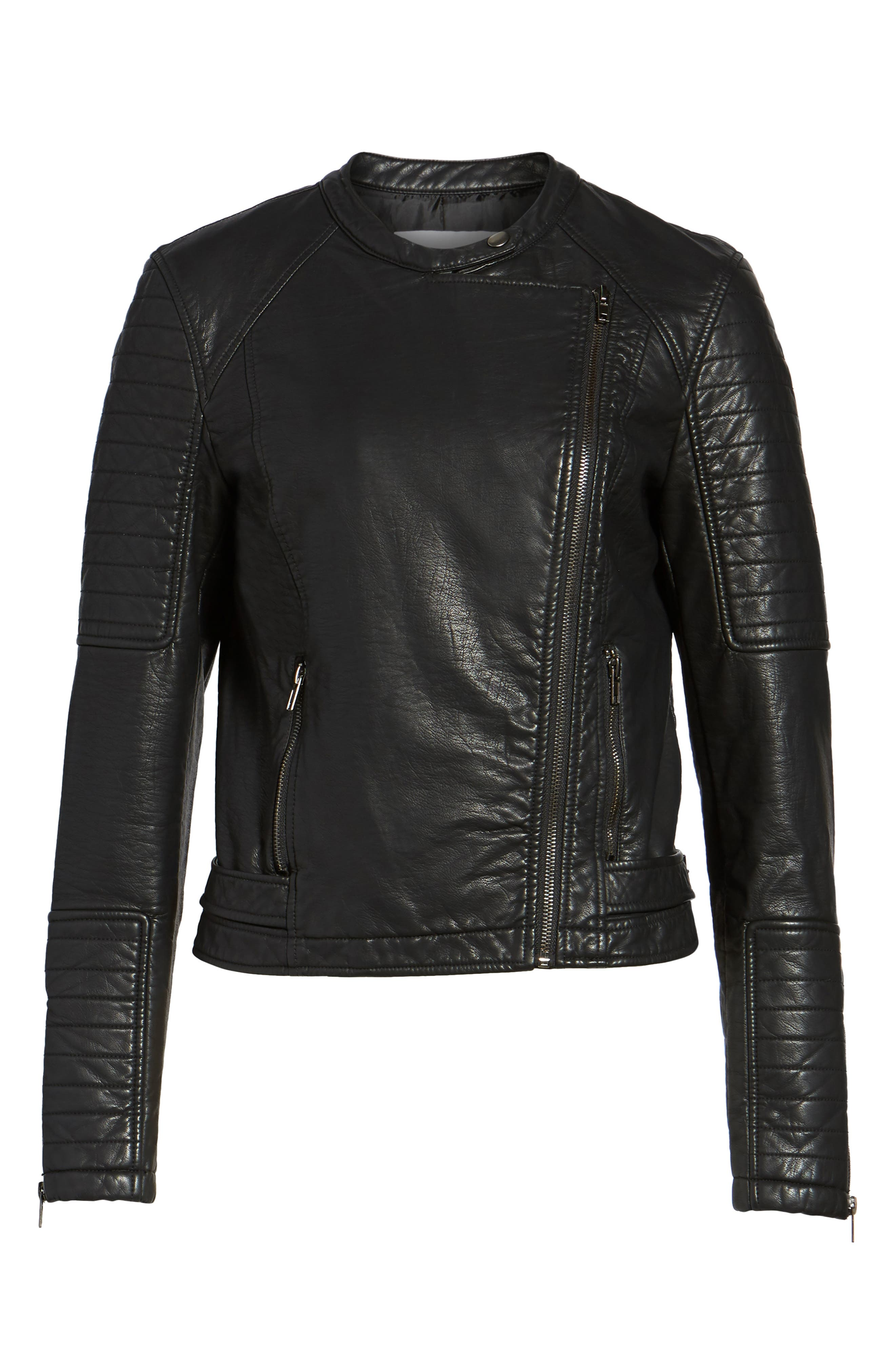 Ezmerelda Faux Leather Moto Jacket,                             Alternate thumbnail 5, color,                             001
