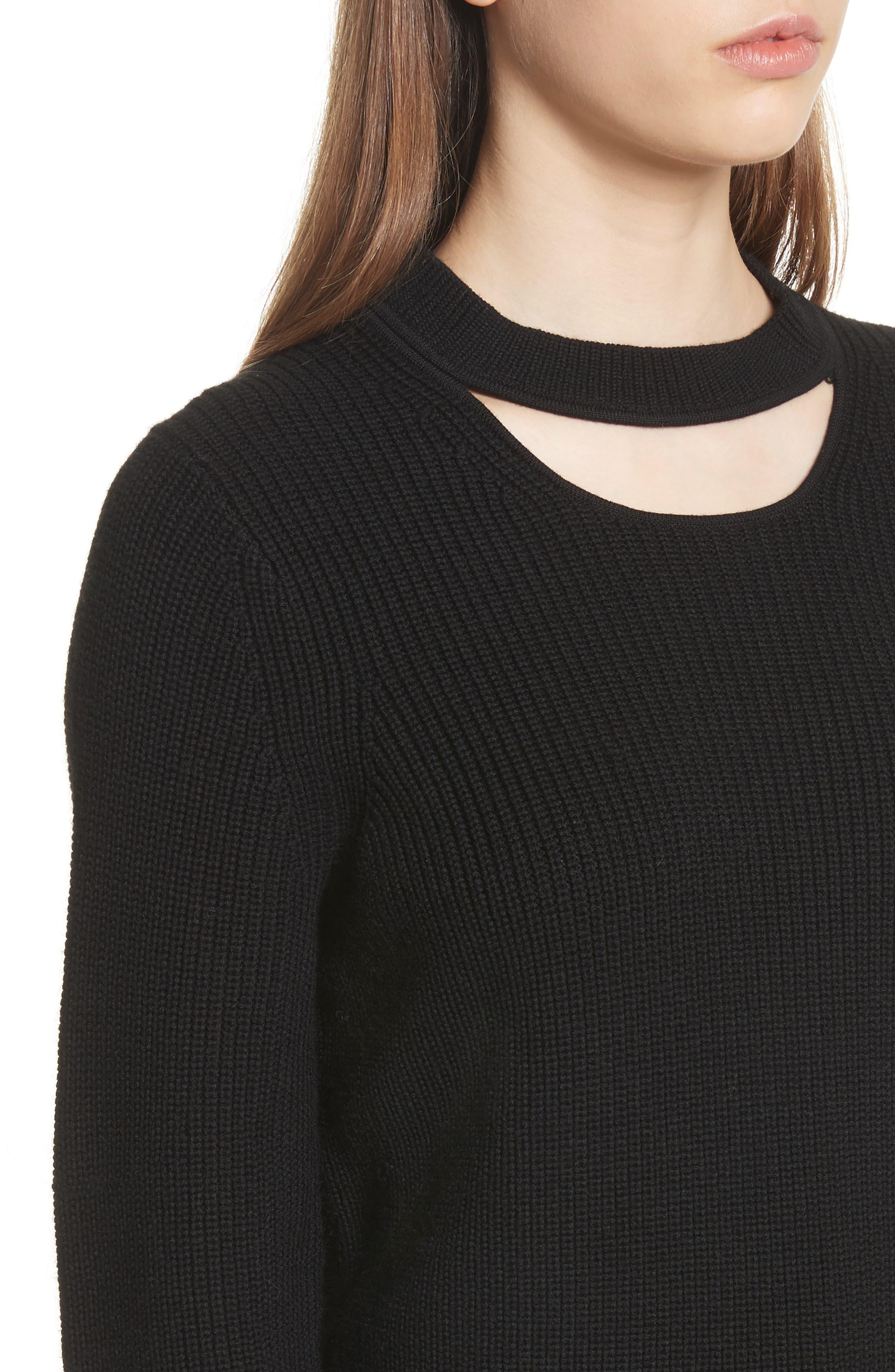 Tori Cutout Sweatshirt,                             Alternate thumbnail 4, color,                             001