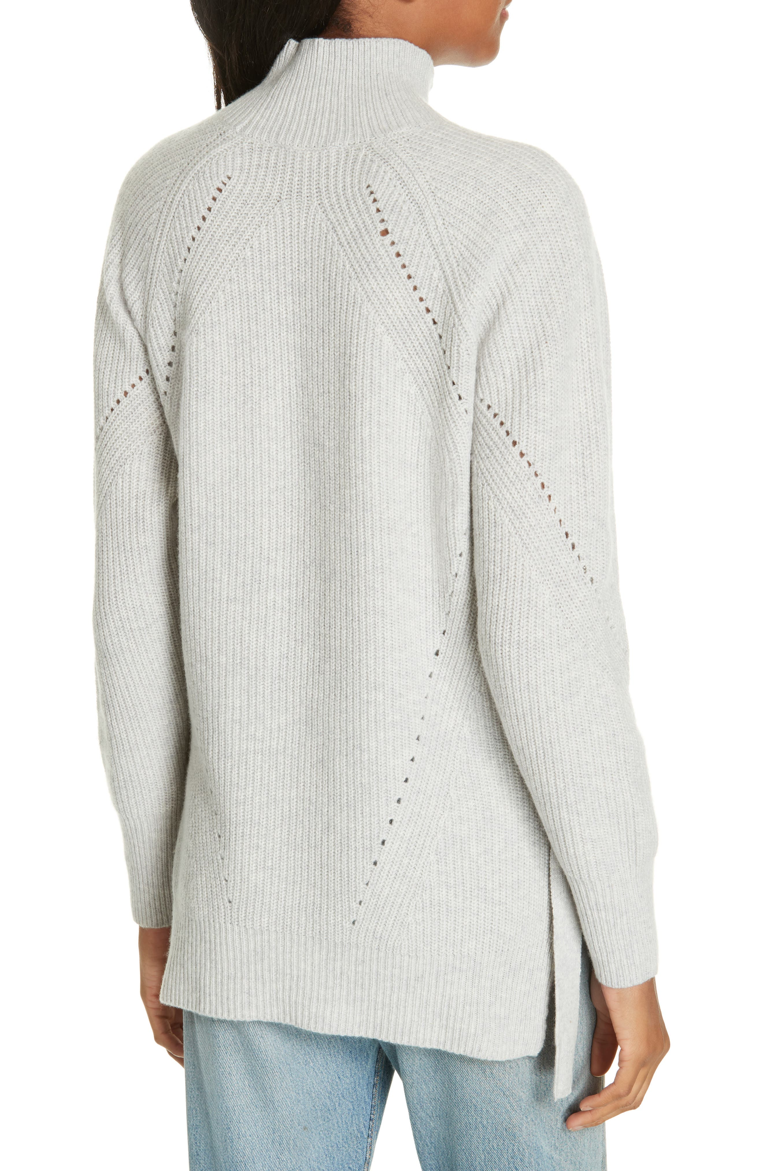 Ribbed Turtleneck Tie Pullover Sweater,                             Alternate thumbnail 2, color,                             HEATHER GREY