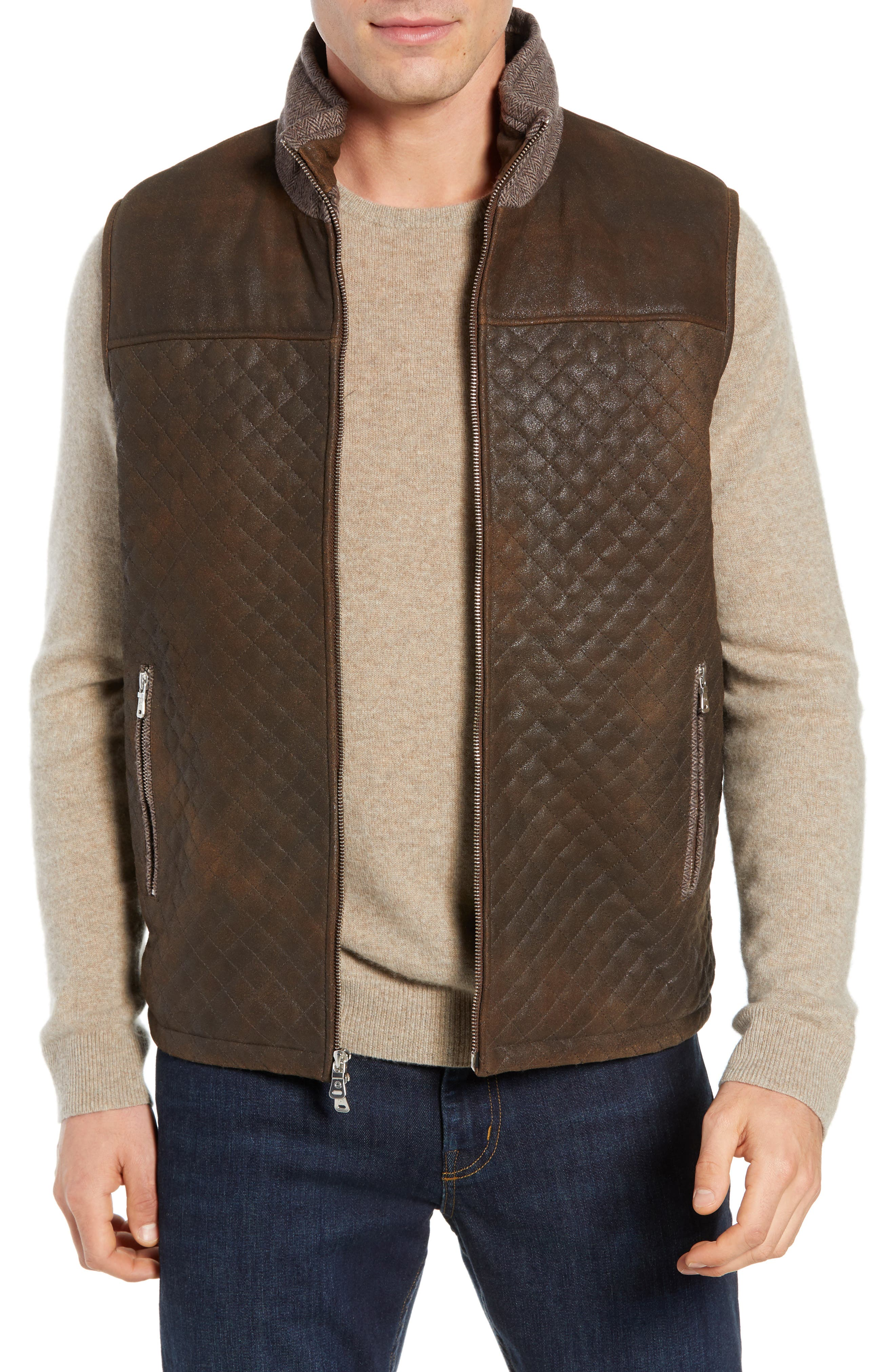 Quilted Leather & Wool Vest,                         Main,                         color, 201