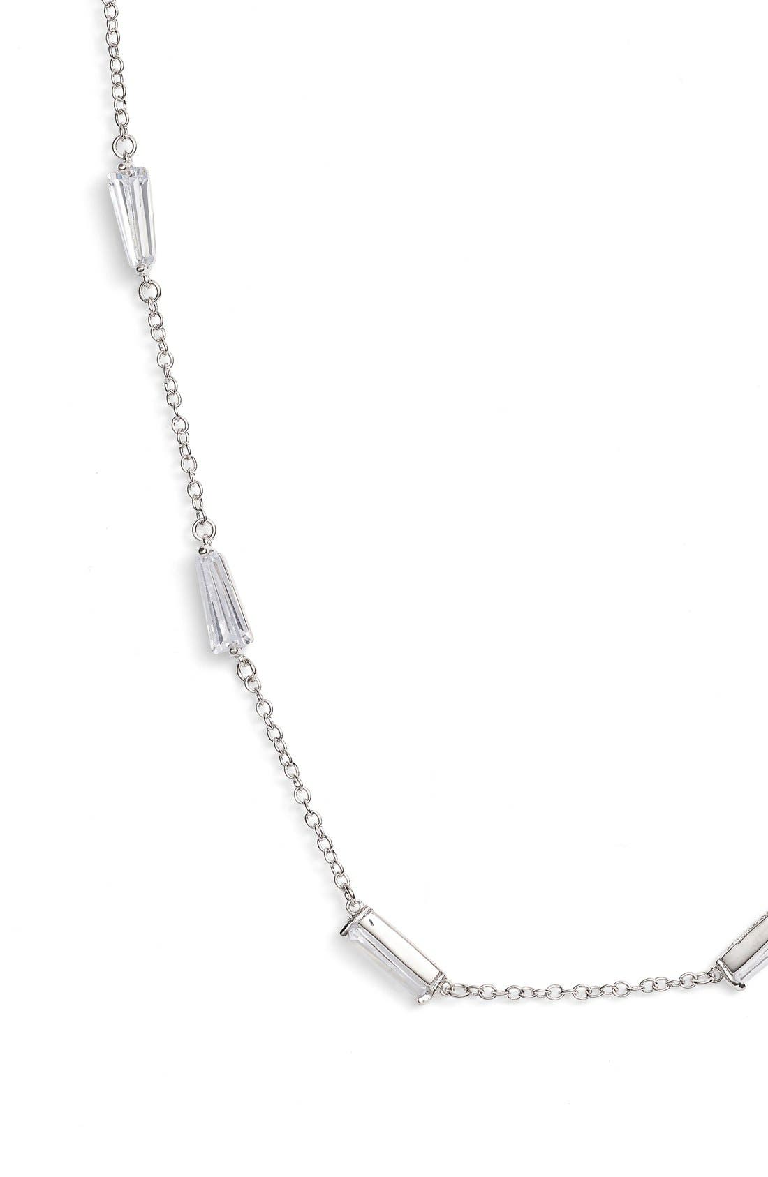 Long Baguette Cubic Zirconia Station Necklace,                             Alternate thumbnail 2, color,                             040
