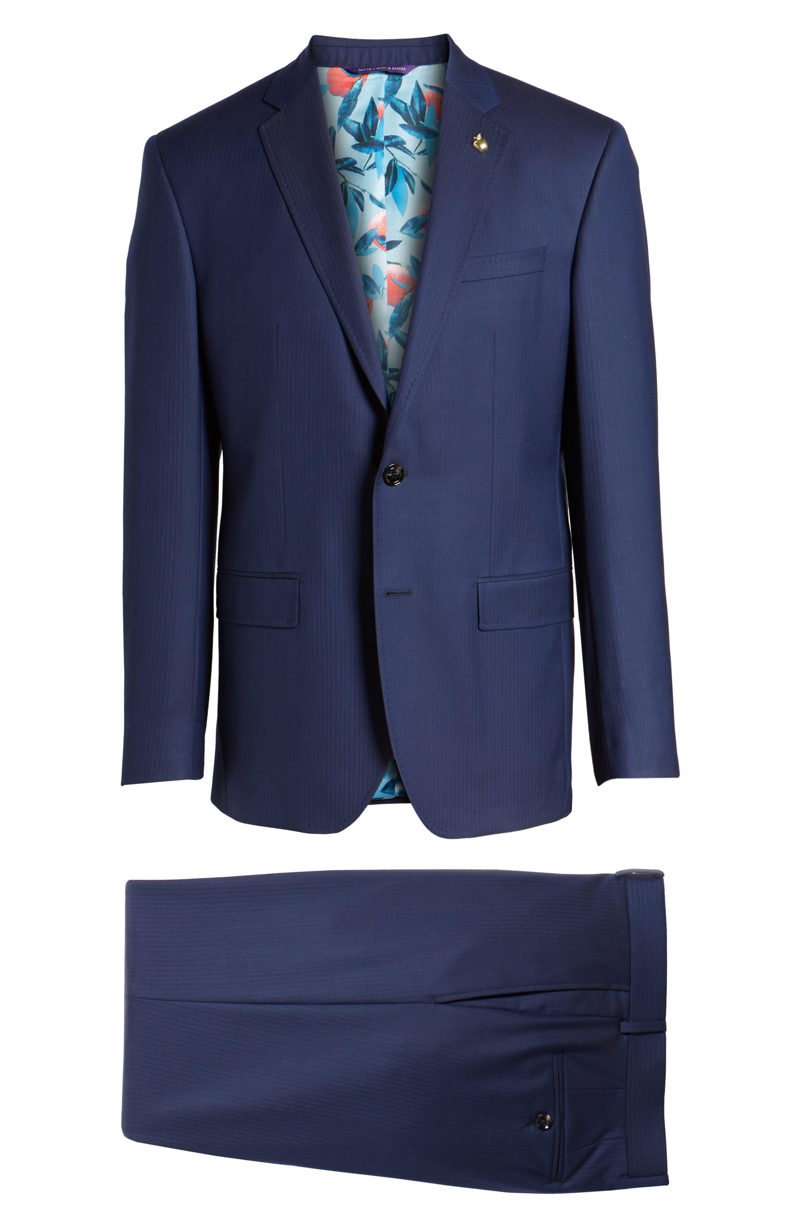 Jay Trim Fit Stripe Wool Suit,                             Alternate thumbnail 10, color,                             410