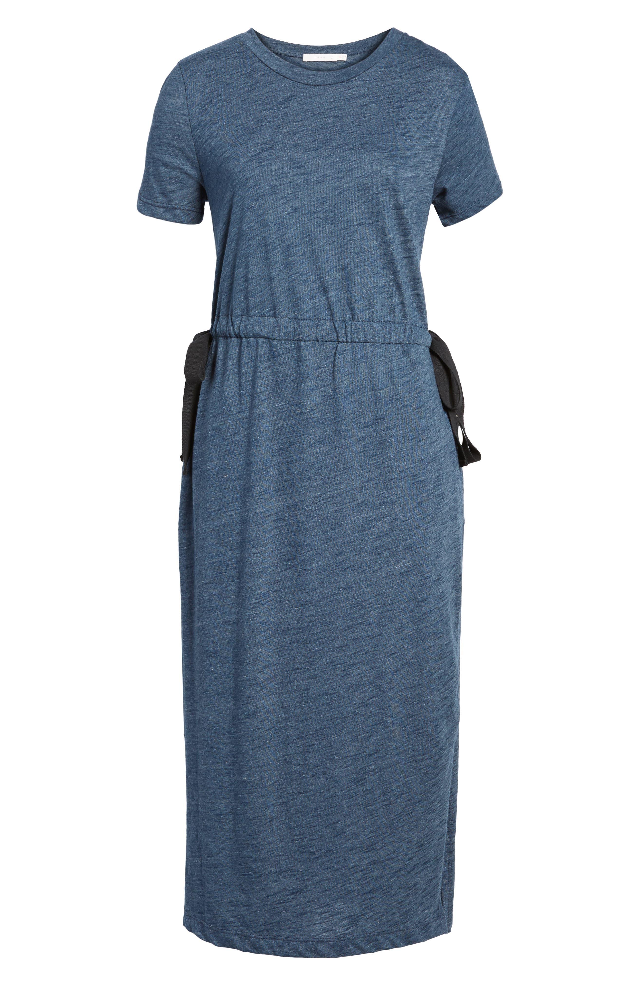 Side Tie Midi T-Shirt Dress,                             Alternate thumbnail 17, color,