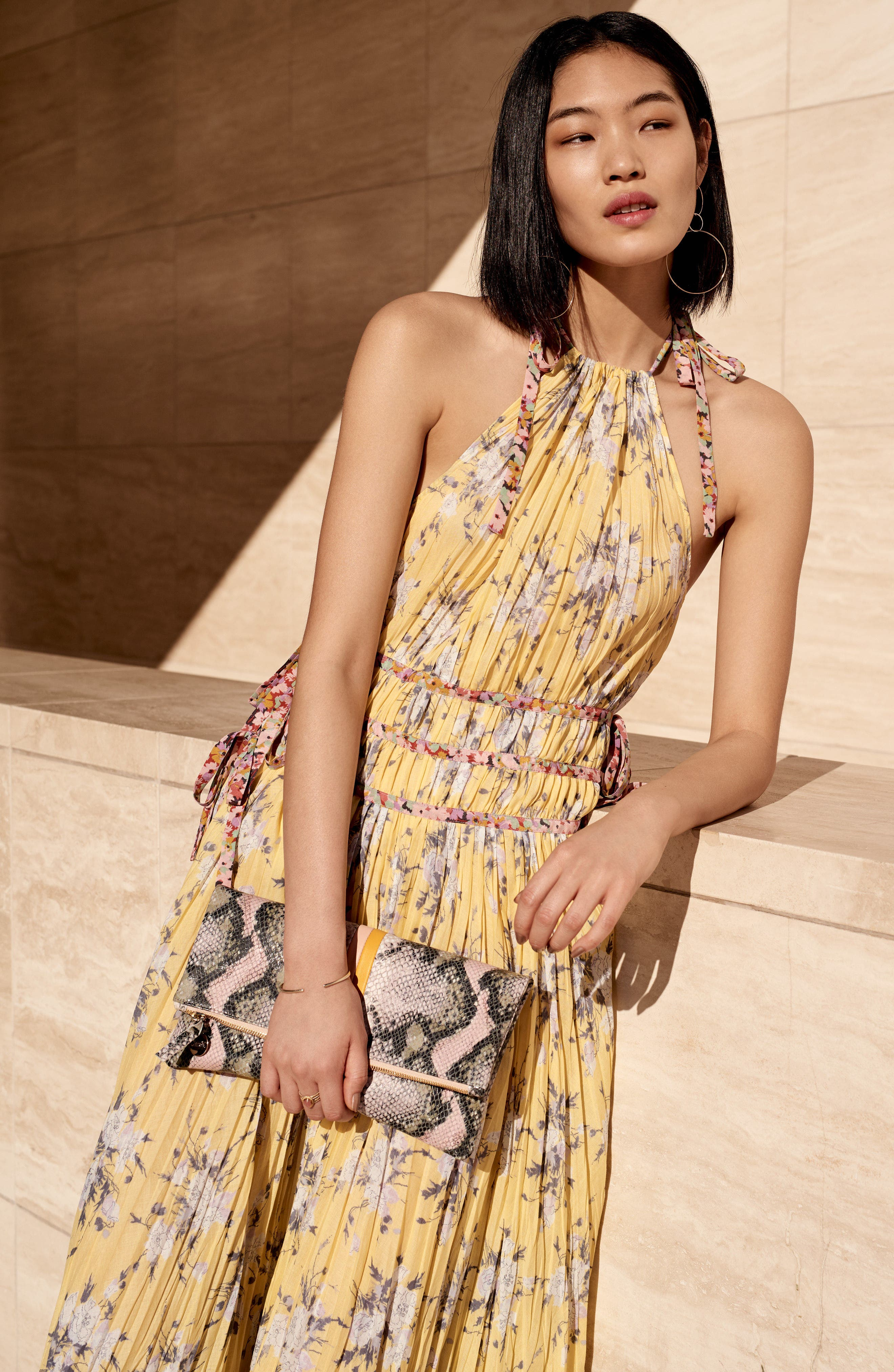Pleat Midi Dress,                             Alternate thumbnail 7, color,