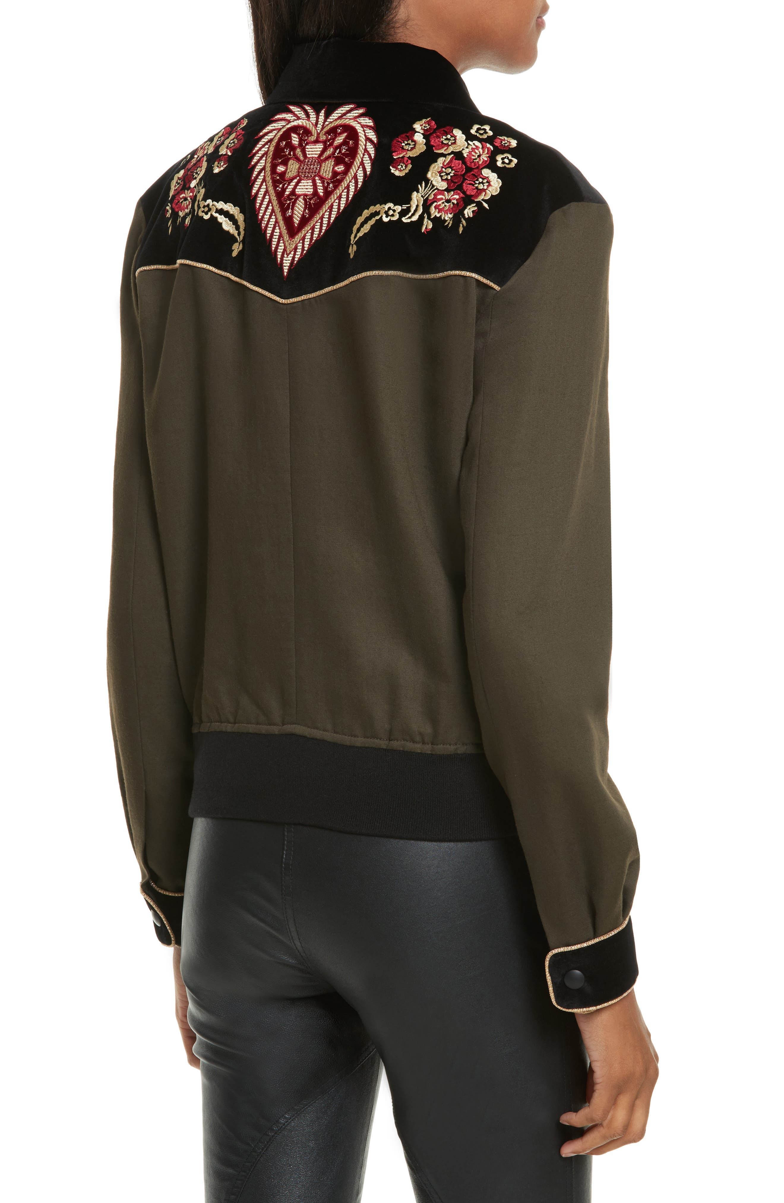 Contrast Embroidery Bomber Jacket,                             Alternate thumbnail 2, color,