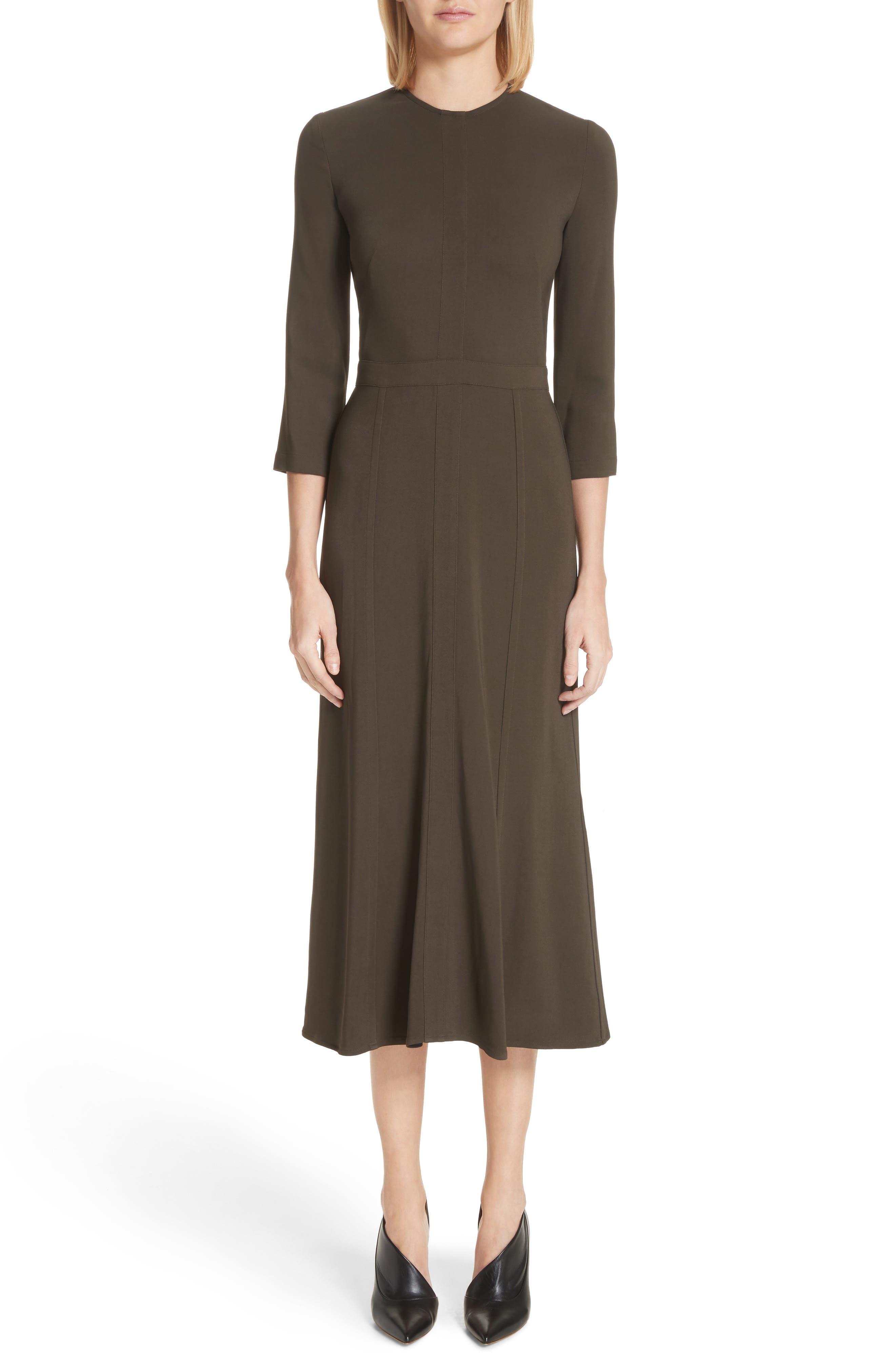Paneled Cady Midi Dress,                         Main,                         color, KHAKI GREEN